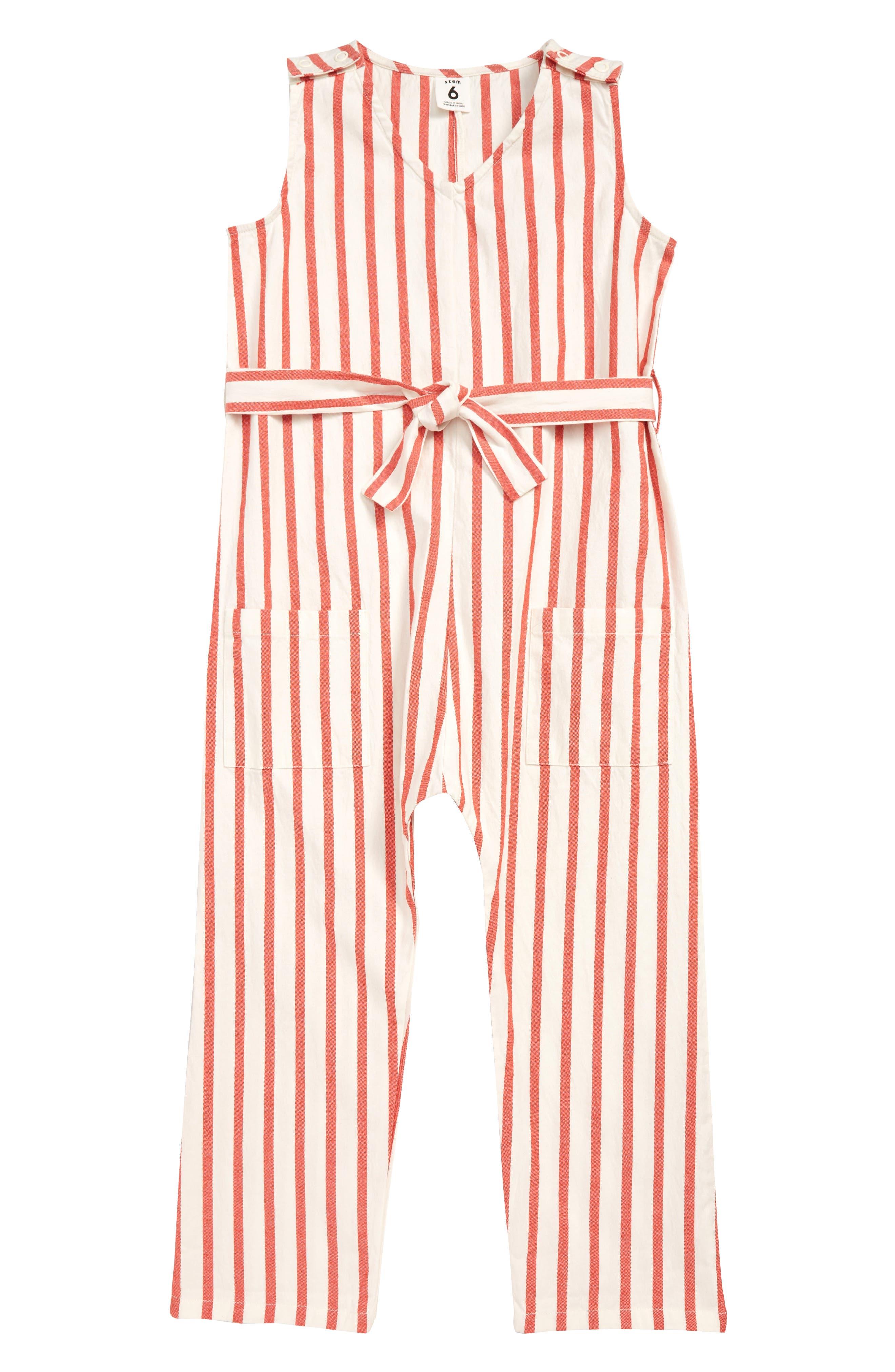STEM Stripe Jumpsuit, Main, color, WHITE- RED STRIPE