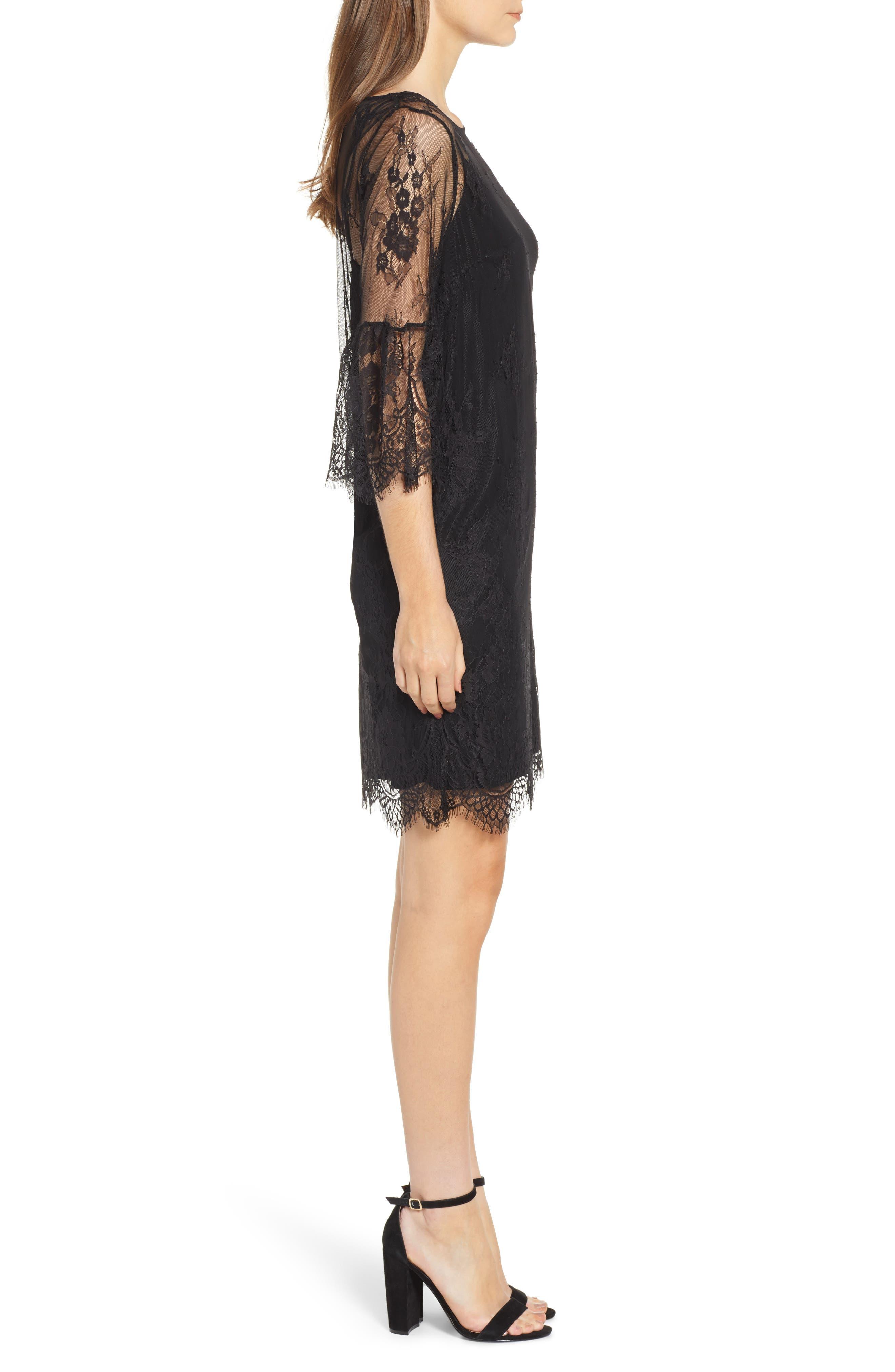 ROSEMUNDE, Aix Lace Dress, Alternate thumbnail 4, color, BLACK