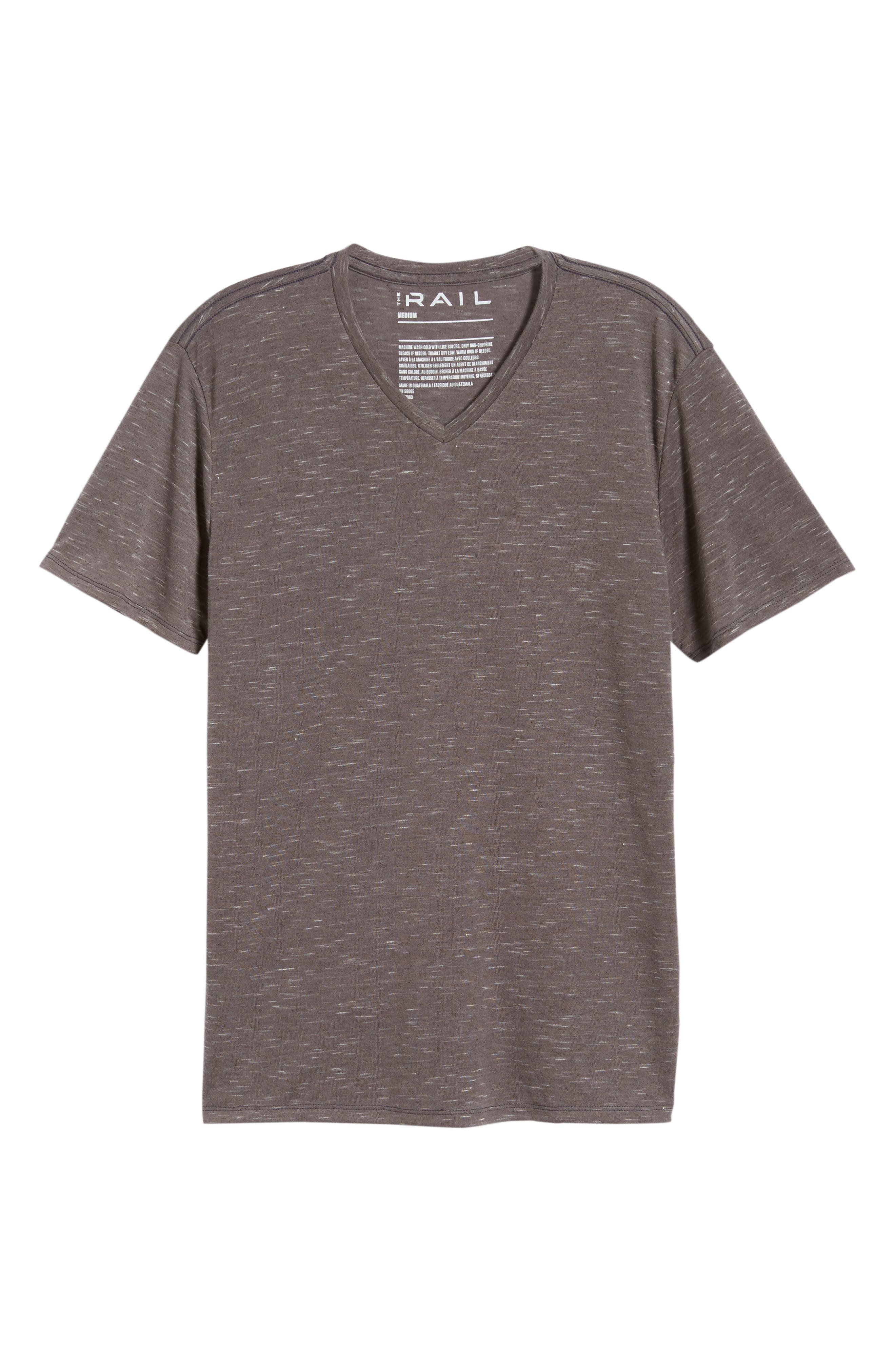 THE RAIL, Streaky V-Neck T-Shirt, Alternate thumbnail 6, color, GREY TORNADO- WHITE