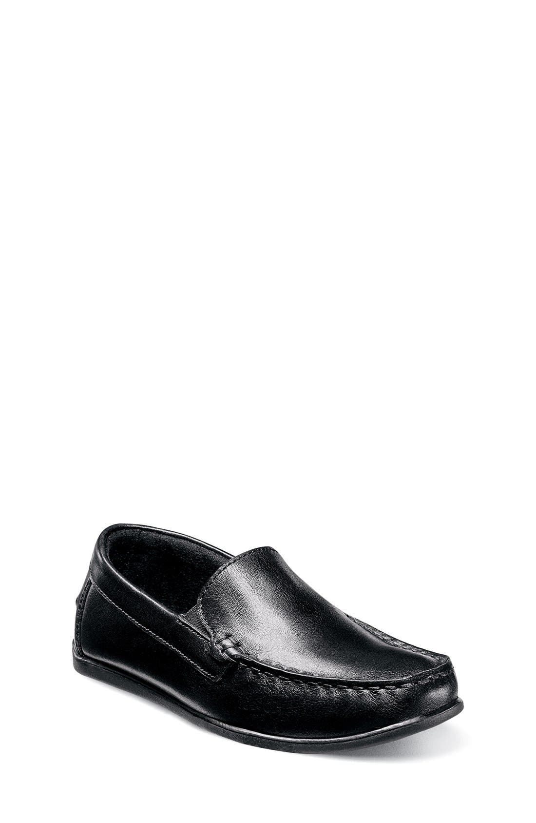 FLORSHEIM 'Jasper - Venetian Jr.' Loafer, Main, color, BLACK LEATHER