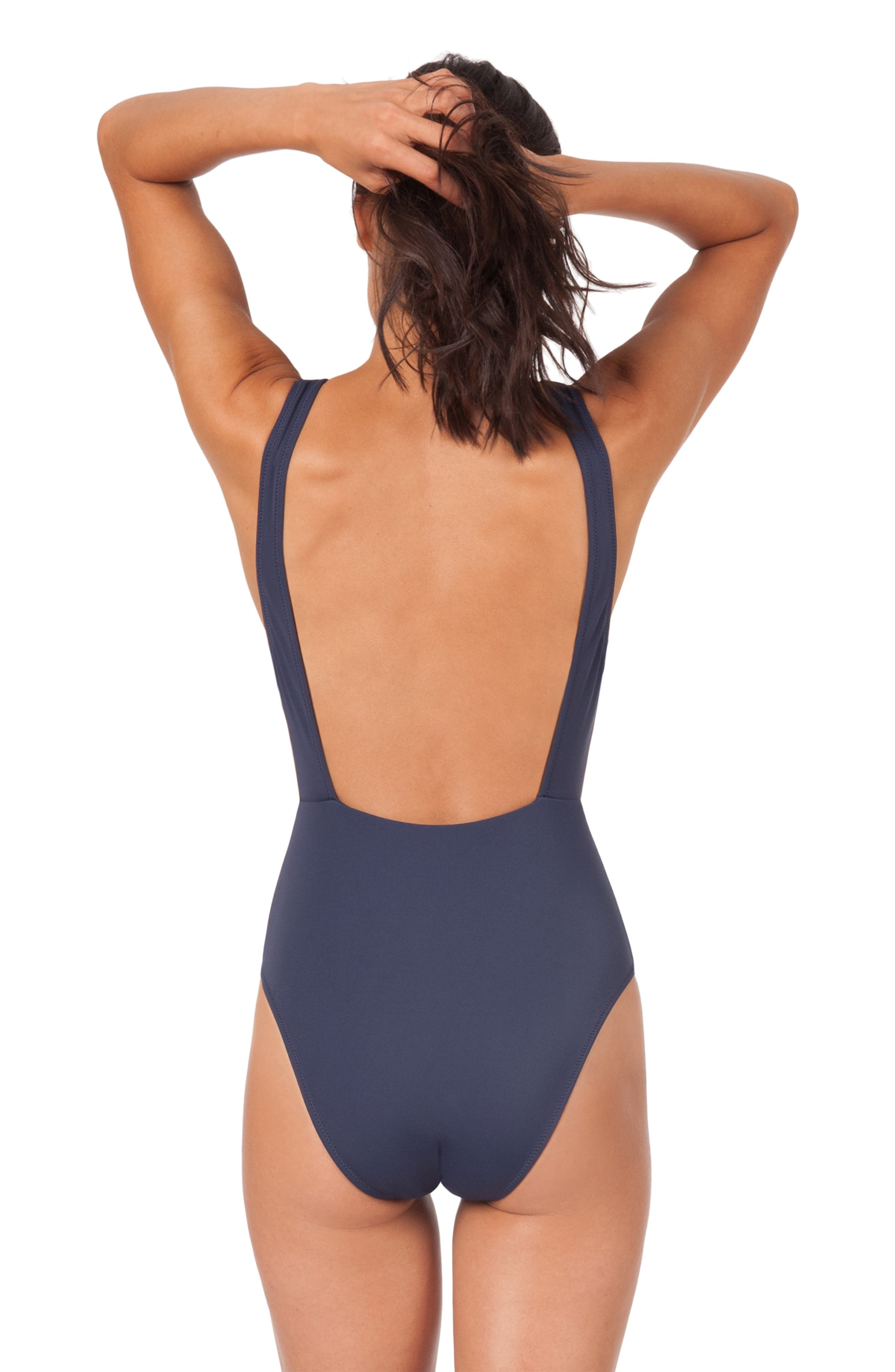 LIVELY, The Highneck One-Piece Swimsuit, Alternate thumbnail 2, color, LIVELY NAVY