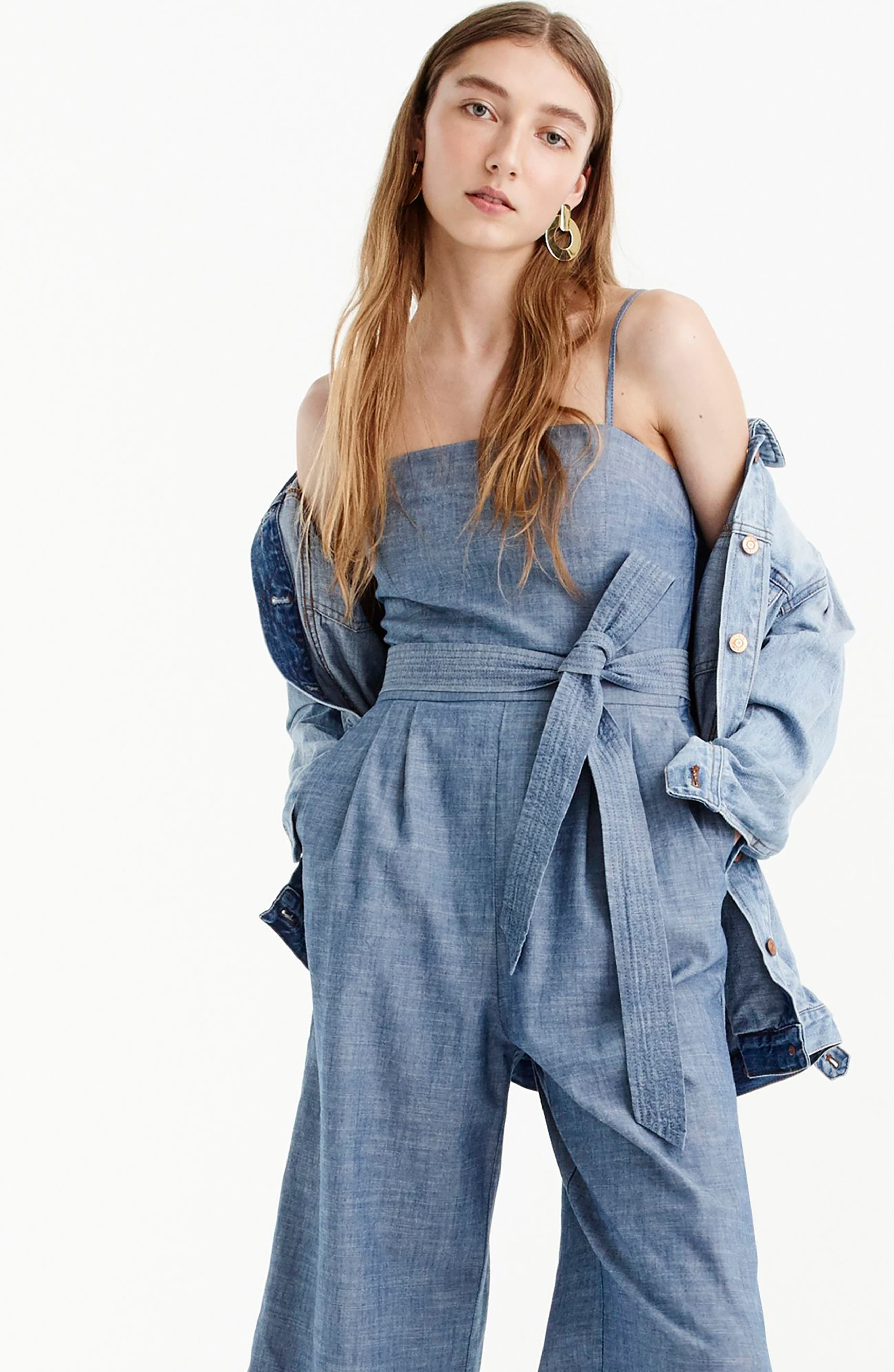 J.CREW, Marseille Cotton Chambray Jumpsuit, Alternate thumbnail 4, color, 400