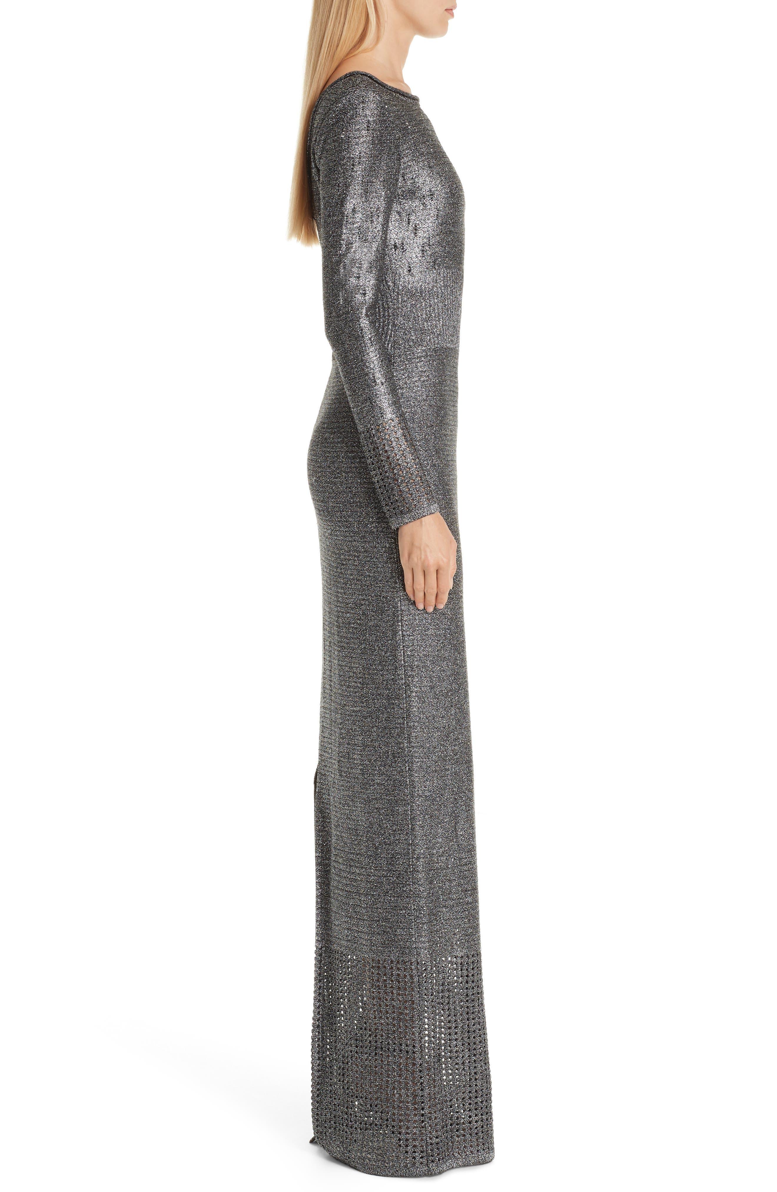 ST. JOHN COLLECTION, Metallic Plaited Mixed Knit Gown, Alternate thumbnail 3, color, GUNMETAL/ CAVIAR