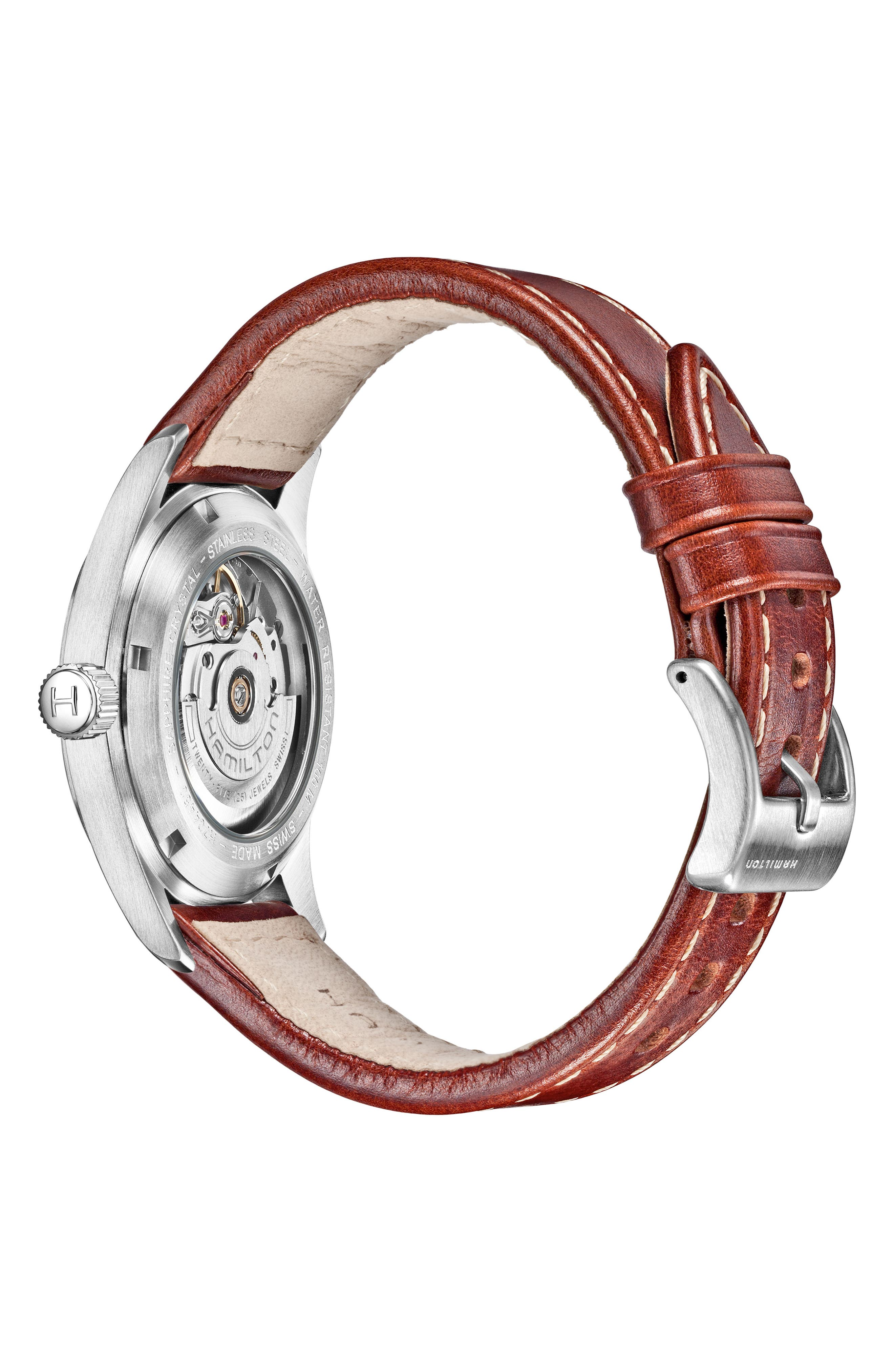 HAMILTON, Khaki Field Automatic Leather Strap Watch, 38mm, Alternate thumbnail 2, color, BROWN/ BLACK/ SILVER