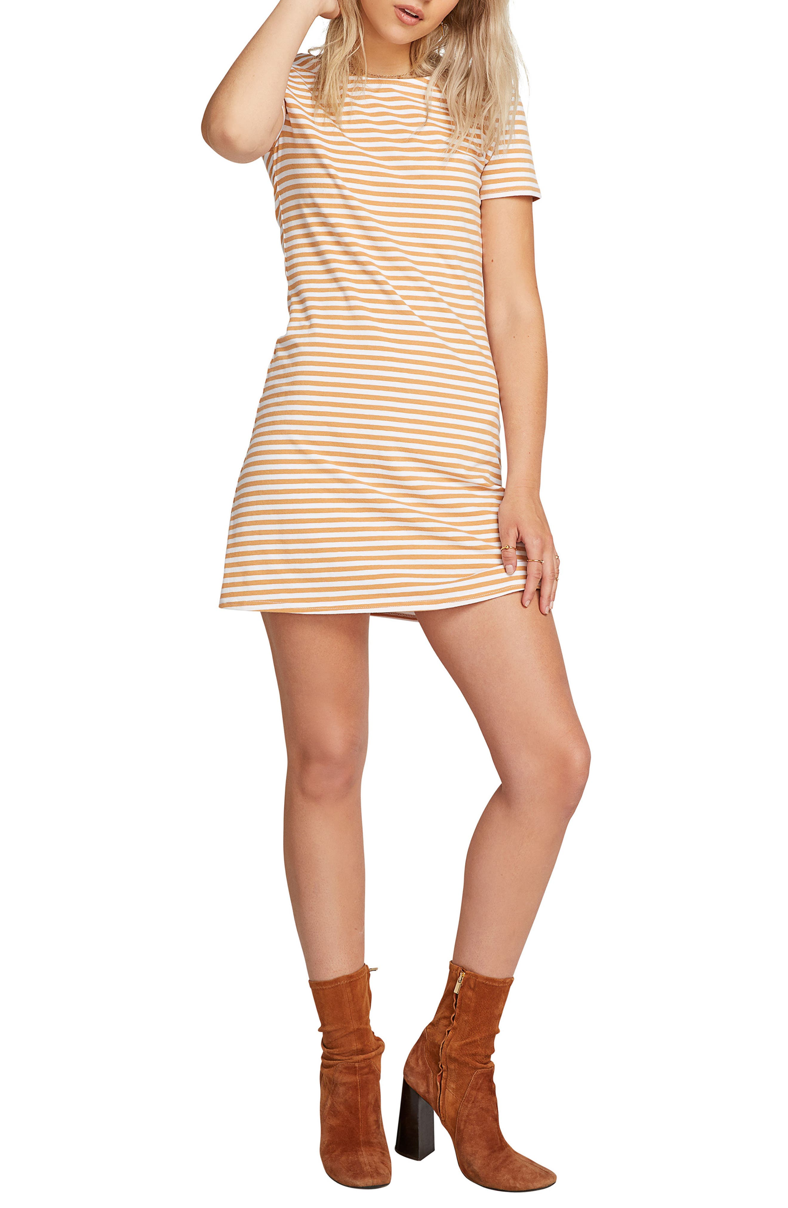 VOLCOM, Looking Out Stripe T-Shirt Dress, Main thumbnail 1, color, 250