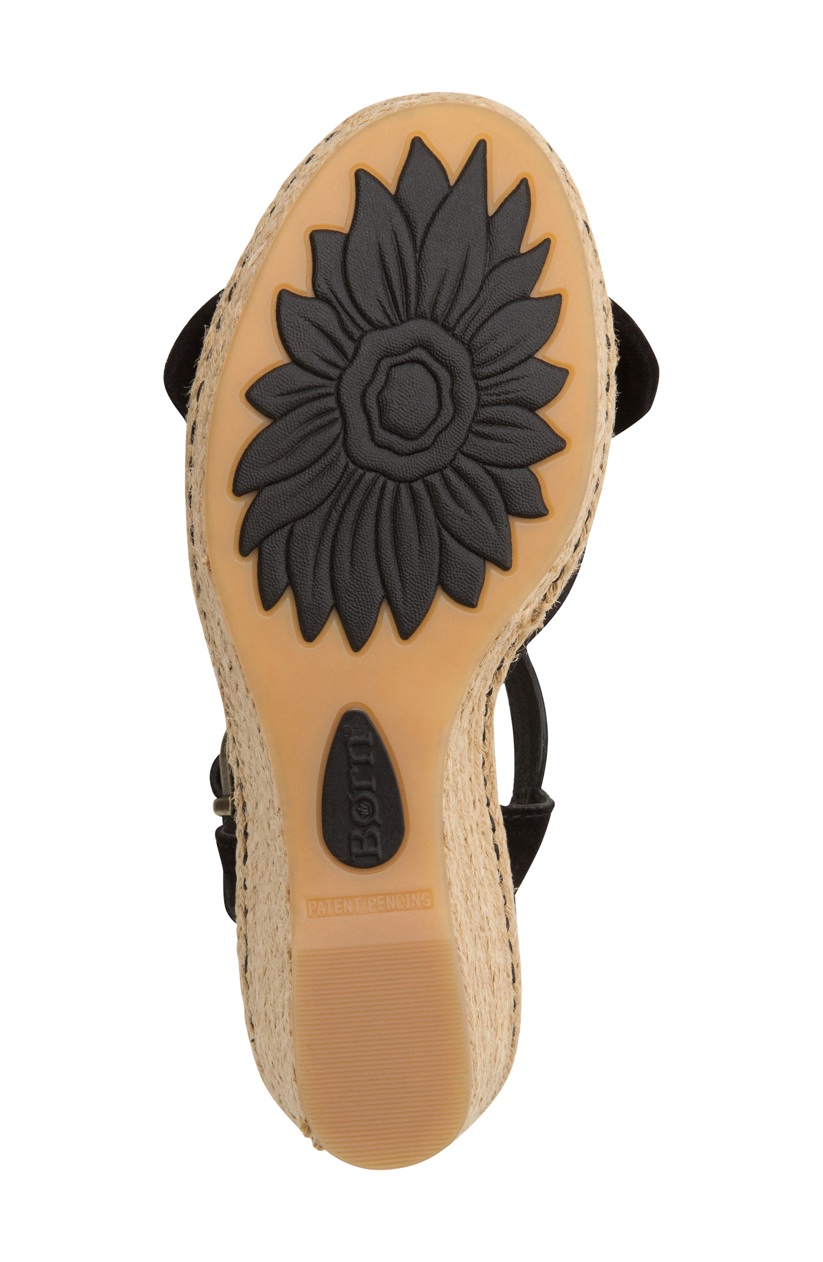 BØRN, Monticello Knotted Wedge Sandal, Alternate thumbnail 6, color, BLACK SUEDE