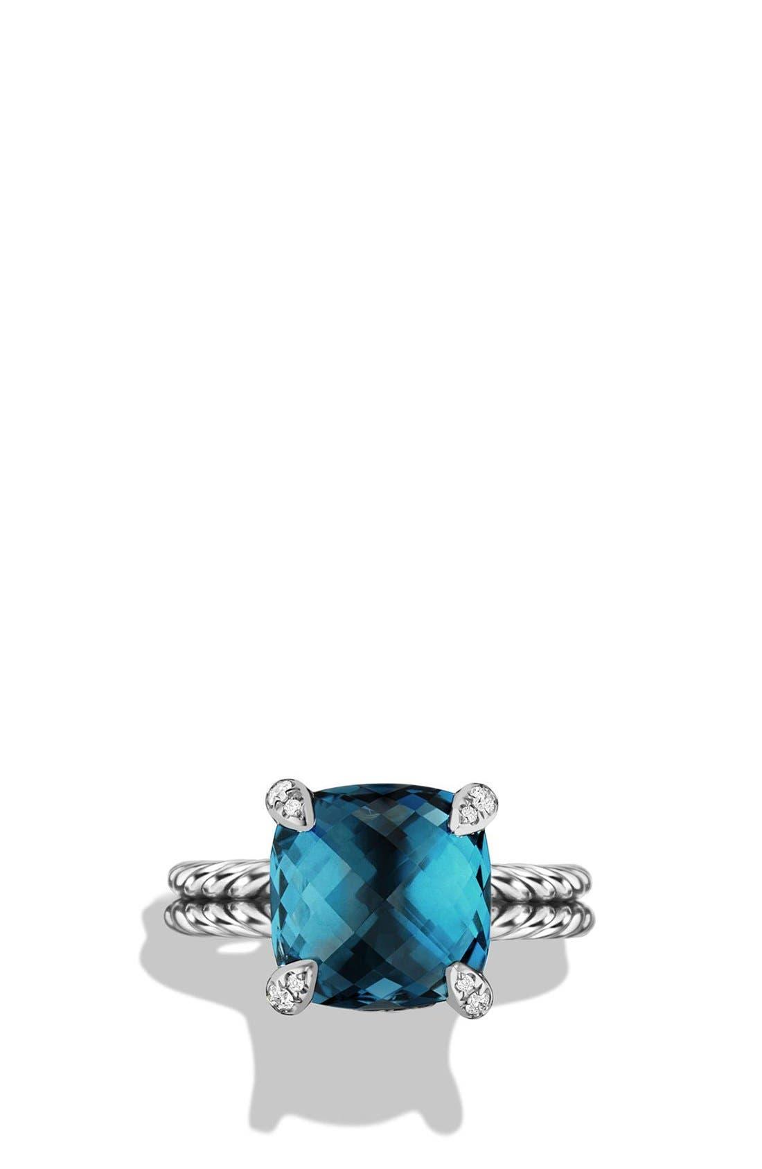 DAVID YURMAN, 'Châtelaine' Ring with Semiprecious Stone and Diamonds, Alternate thumbnail 4, color, SILVER/ HAMPTON BLUE TOPAZ