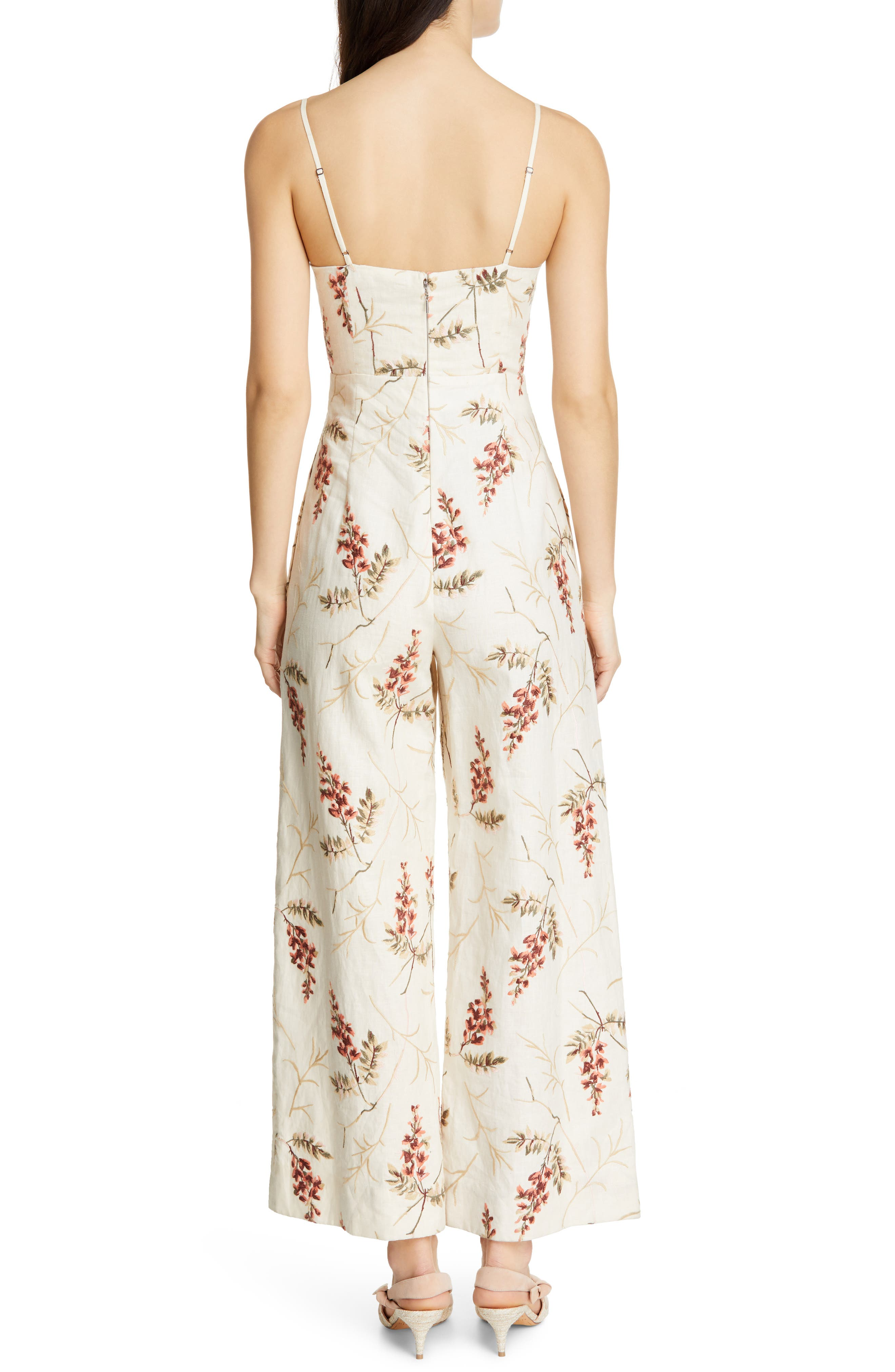 REBECCA TAYLOR, Embroidered Linen Jumpsuit, Alternate thumbnail 2, color, CREAM COMBO