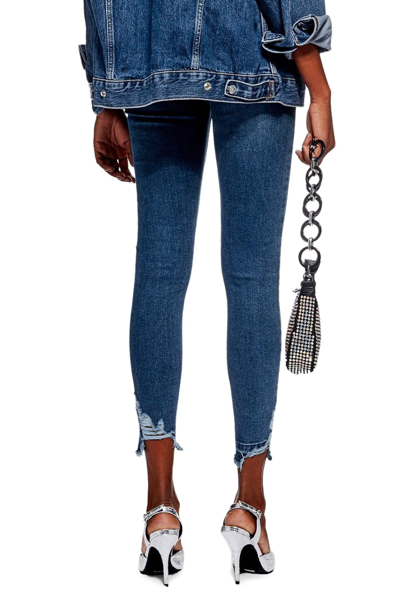 TOPSHOP, Jamie Rip Hem Jeans, Alternate thumbnail 2, color, MID DENIM