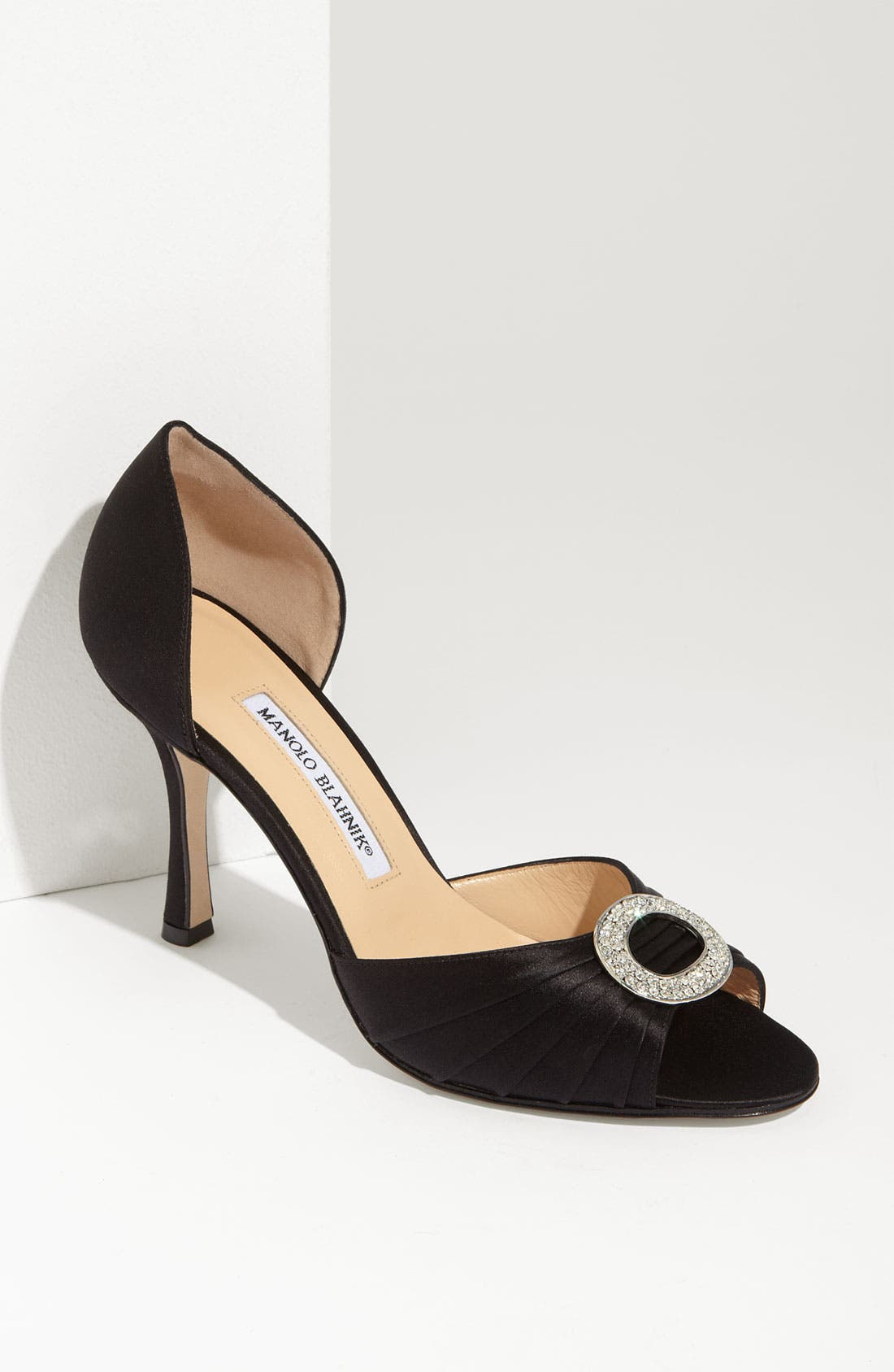 MANOLO BLAHNIK 'Sedaraby' Open Toe d'Orsay Pump, Main, color, 001