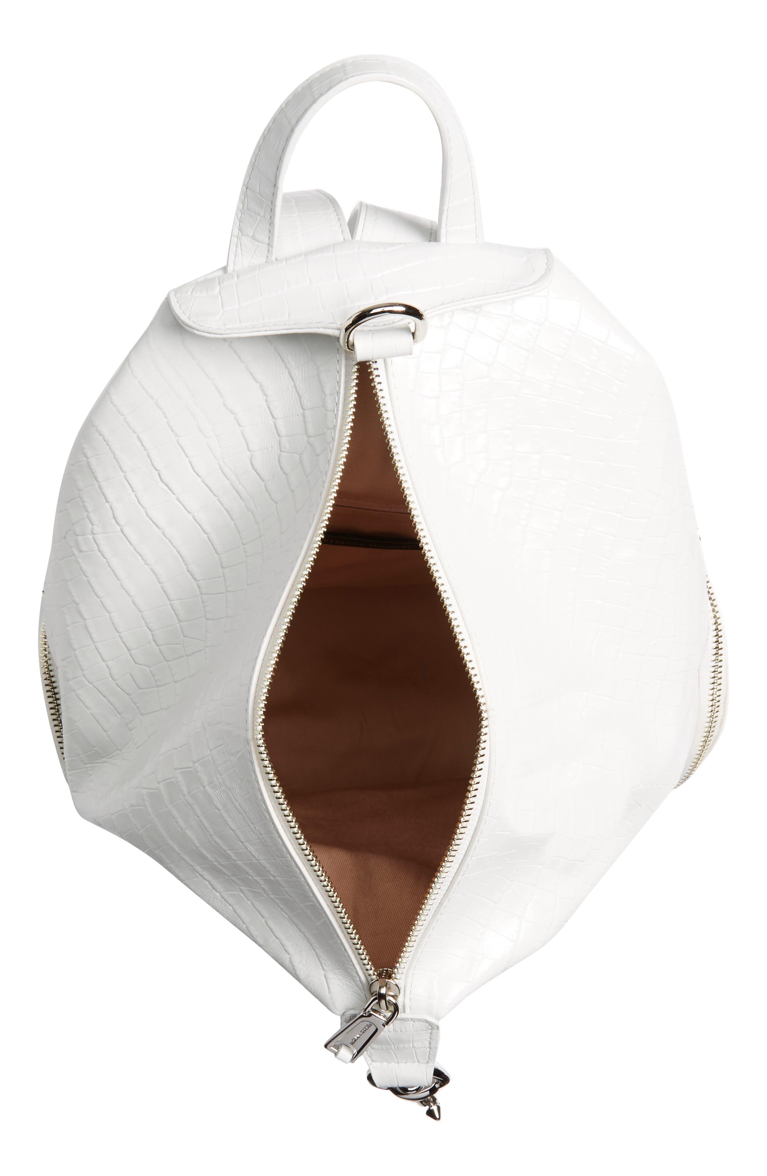 REBECCA MINKOFF, Julian Croc Embossed Leather Backpack, Alternate thumbnail 4, color, OPTIC WHITE