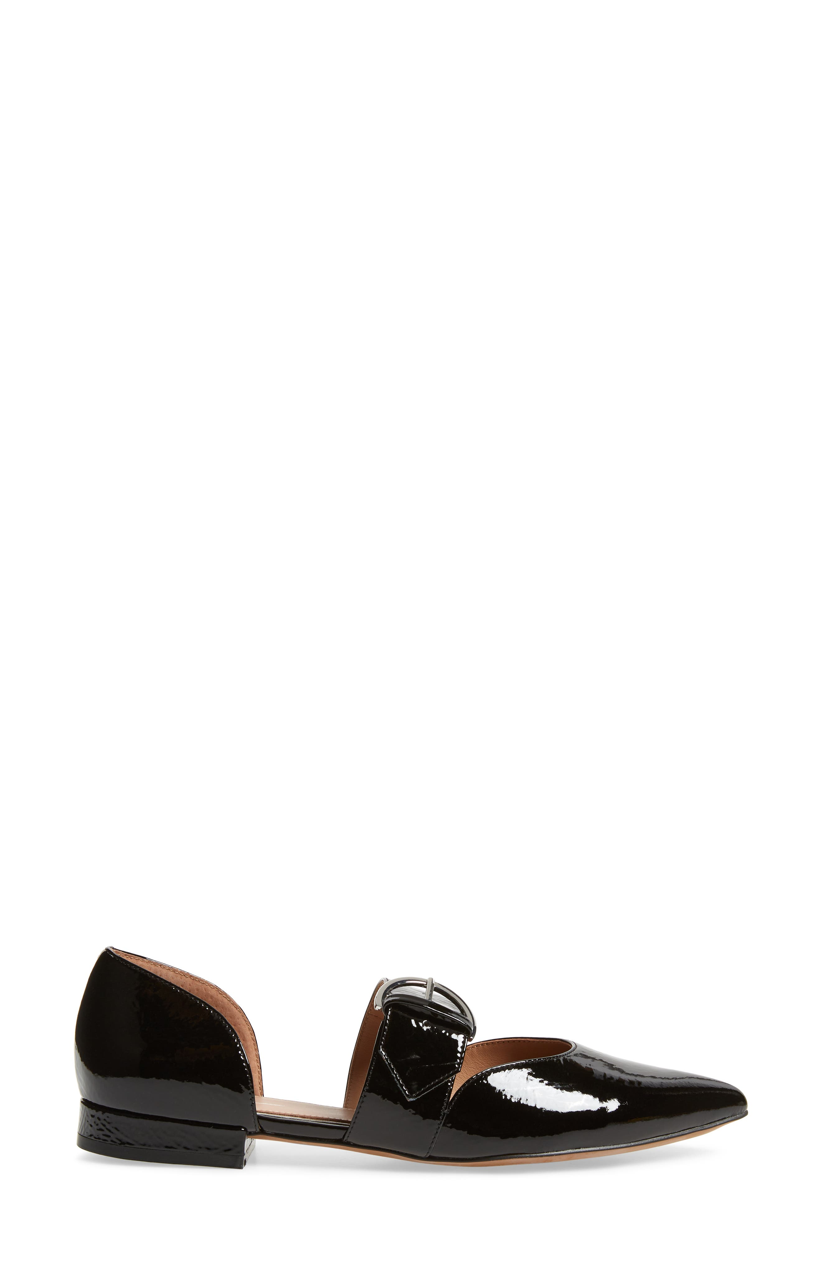 LINEA PAOLO, Dean Pointy Toe Flat, Alternate thumbnail 3, color, BLACK WRINKLE PATENT