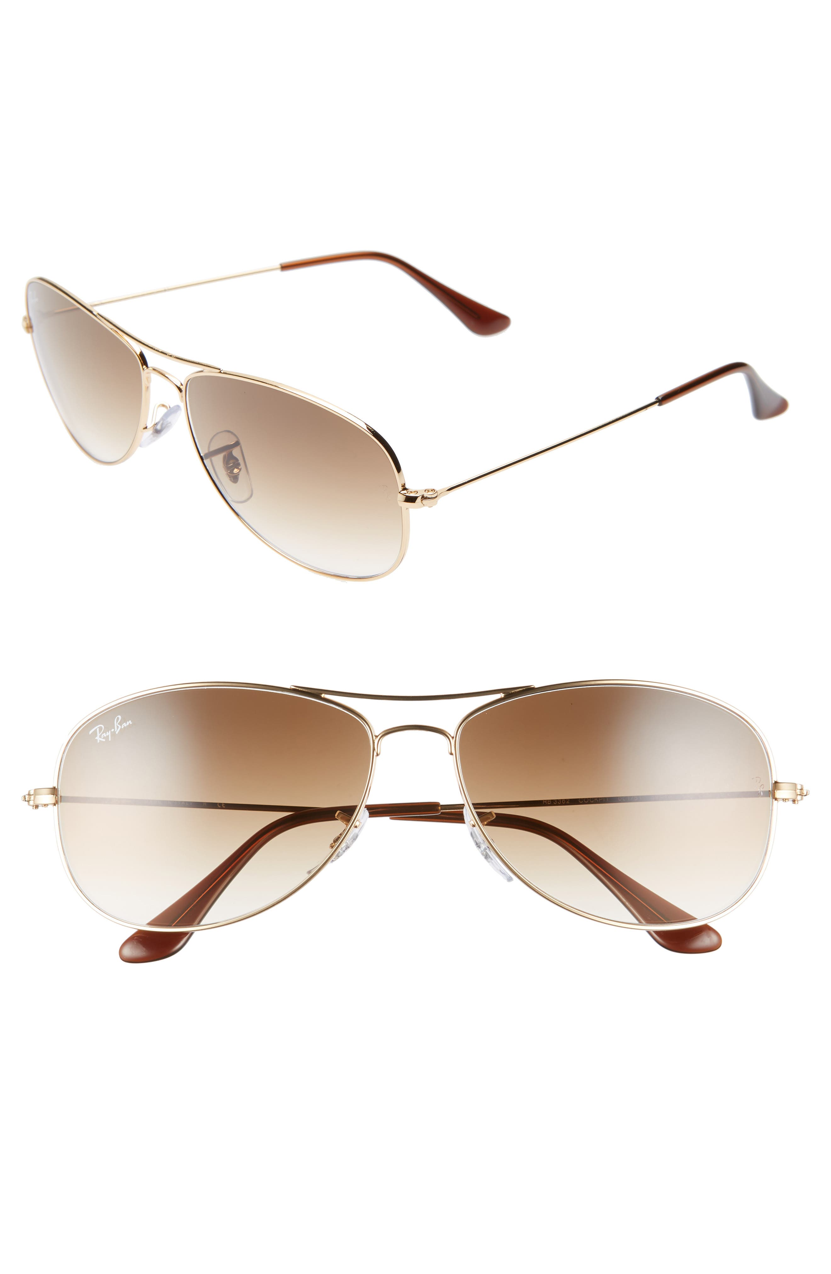 RAY-BAN, New Classic Aviator 59mm Sunglasses, Main thumbnail 1, color, GOLD/ BROWN GRADIENT