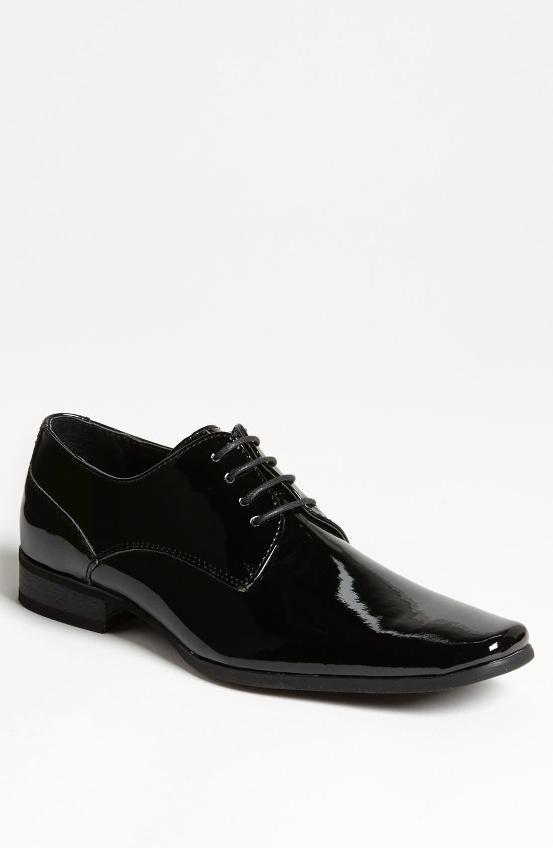 CALVIN KLEIN, 'Brodie' Plain Toe Derby, Main thumbnail 1, color, BLACK PATENT
