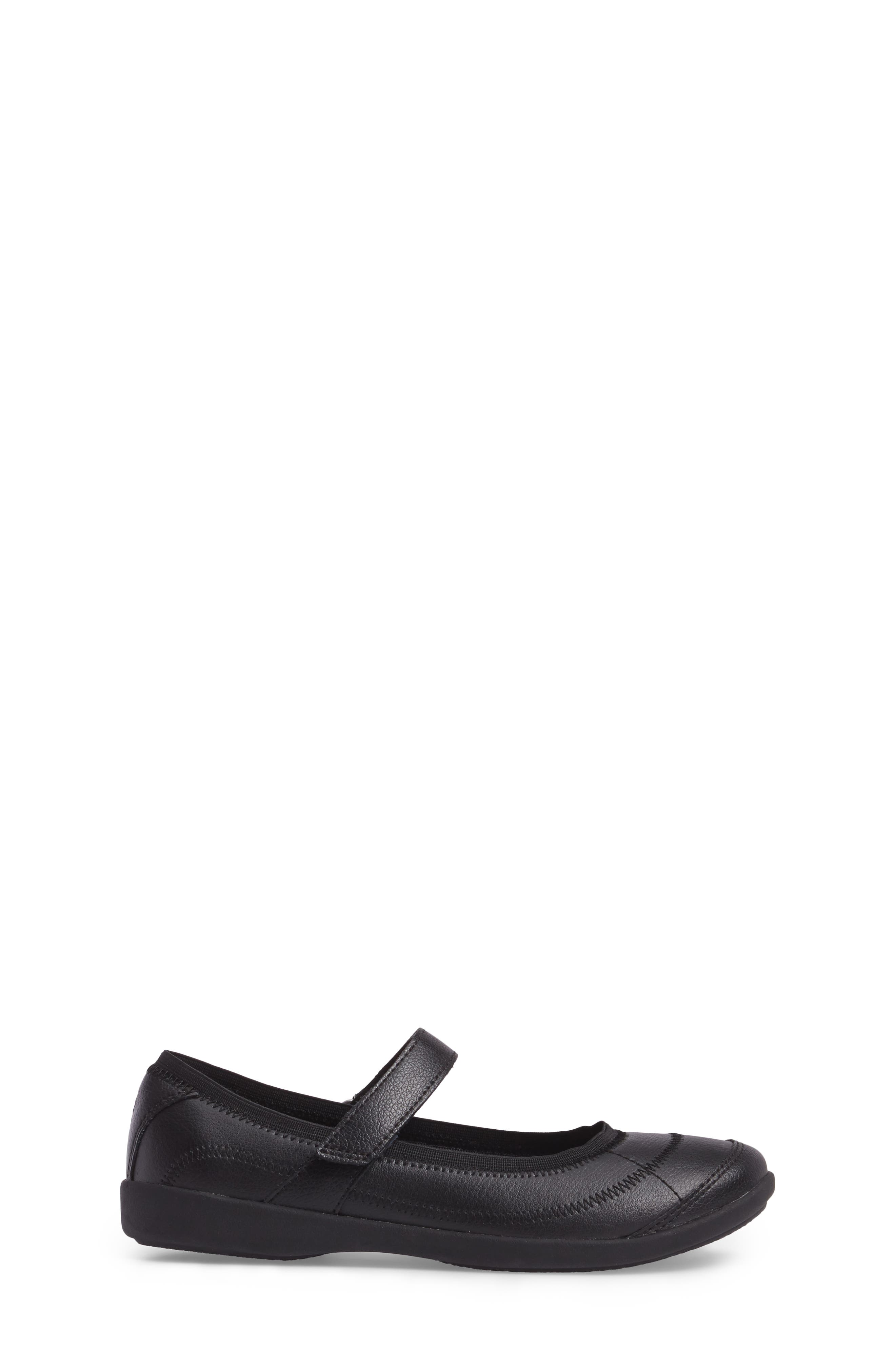 HUSH PUPPIES<SUP>®</SUP>, Reese Mary Jane Flat, Alternate thumbnail 3, color, BLACK LEATHER