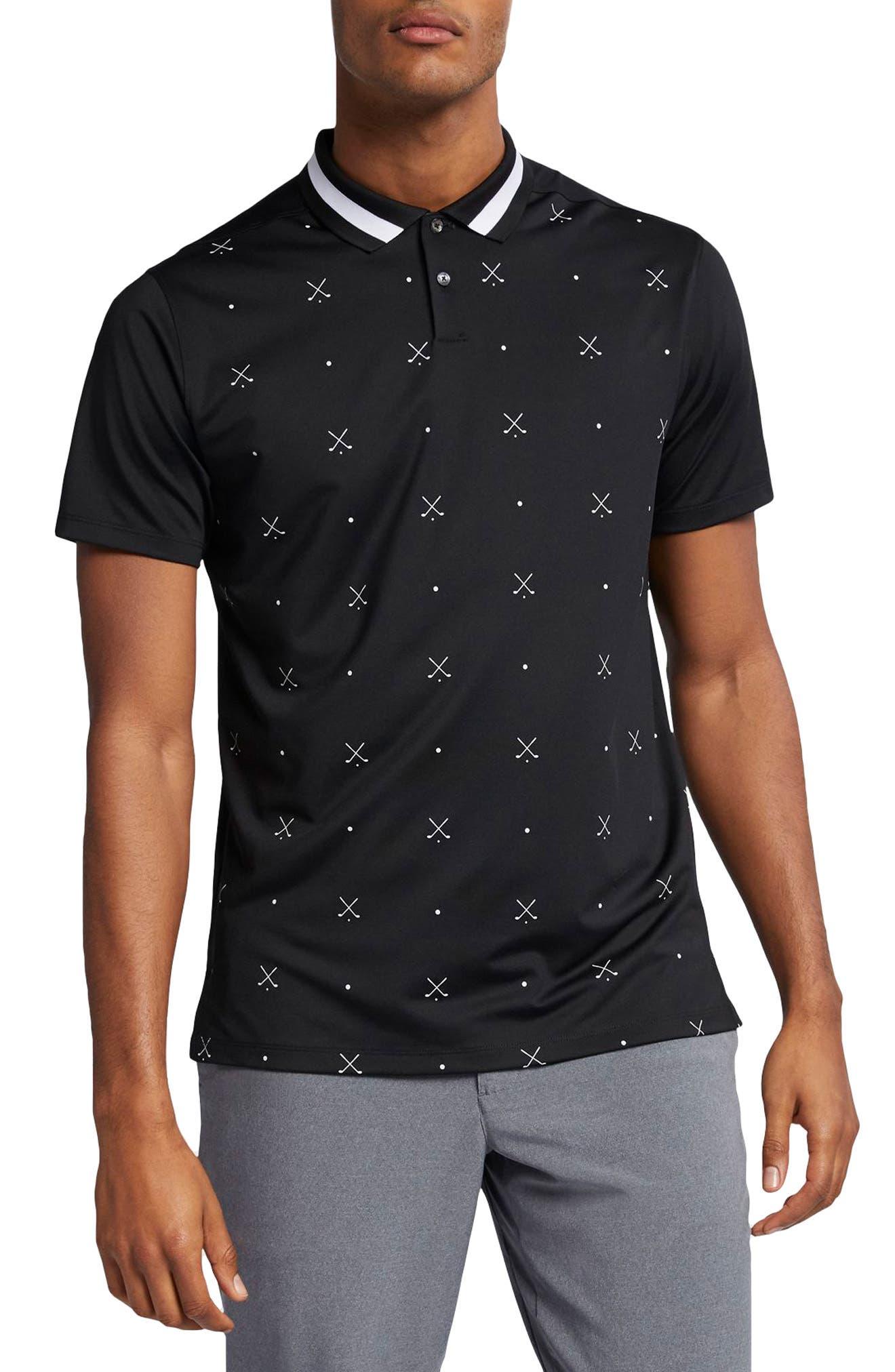 NIKE, Vapor Dri-FIT Golf Polo, Main thumbnail 1, color, BLACK/ WHITE/ BLACK
