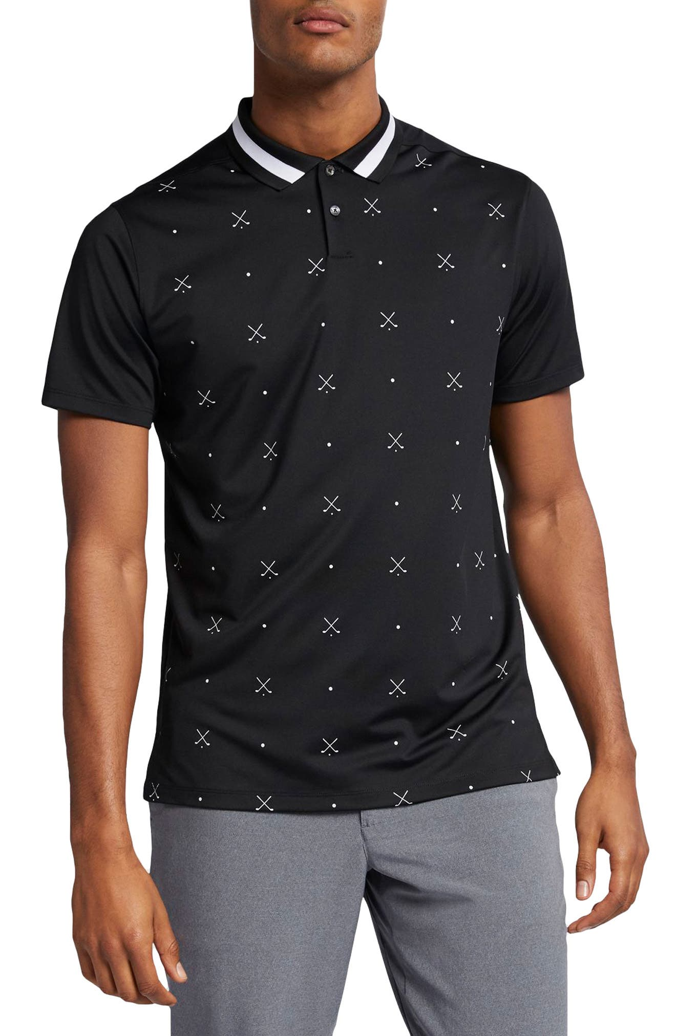 NIKE Vapor Dri-FIT Golf Polo, Main, color, BLACK/ WHITE/ BLACK