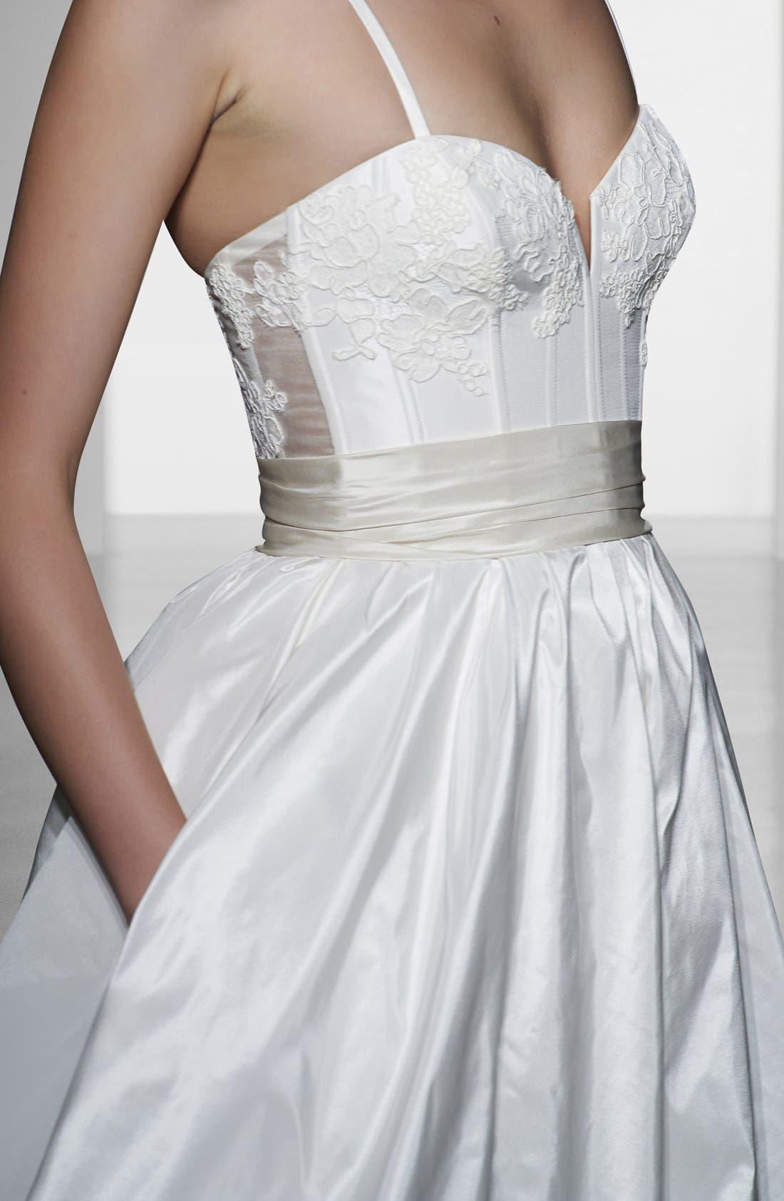AMSALE, Cameron Lace Appliqué Corset Bodice Silk Taffeta Dress, Alternate thumbnail 2, color, 900