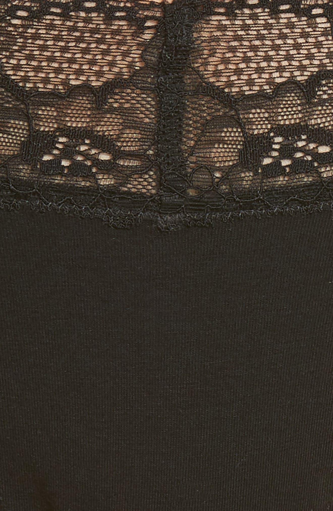 MAKE + MODEL, Lace Trim Thong, Alternate thumbnail 5, color, BLACK