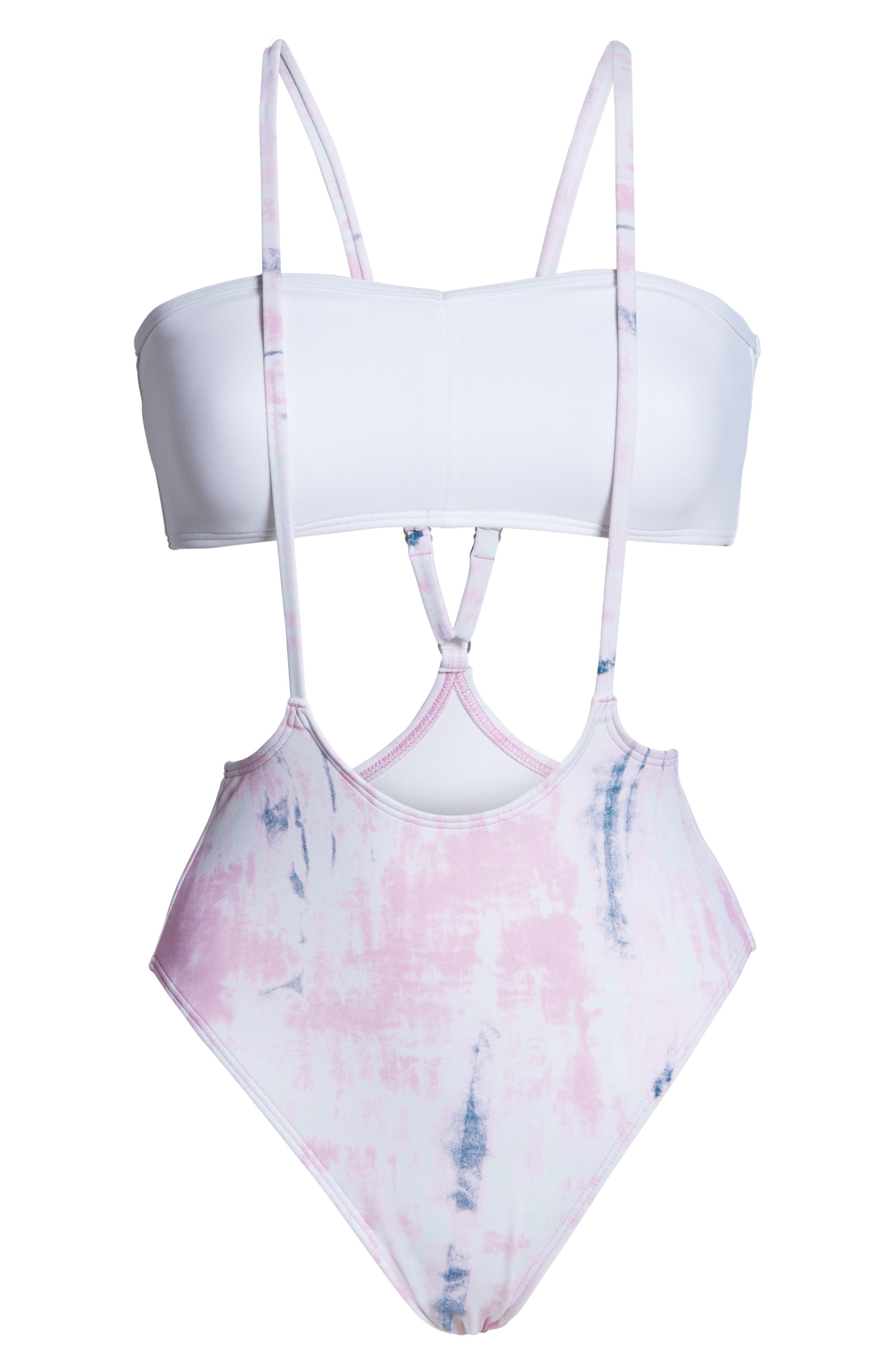SOMETHING NAVY, Suspender High Cut One-Piece Swimsuit, Alternate thumbnail 8, color, PINK CHIFFON SPRING WASH