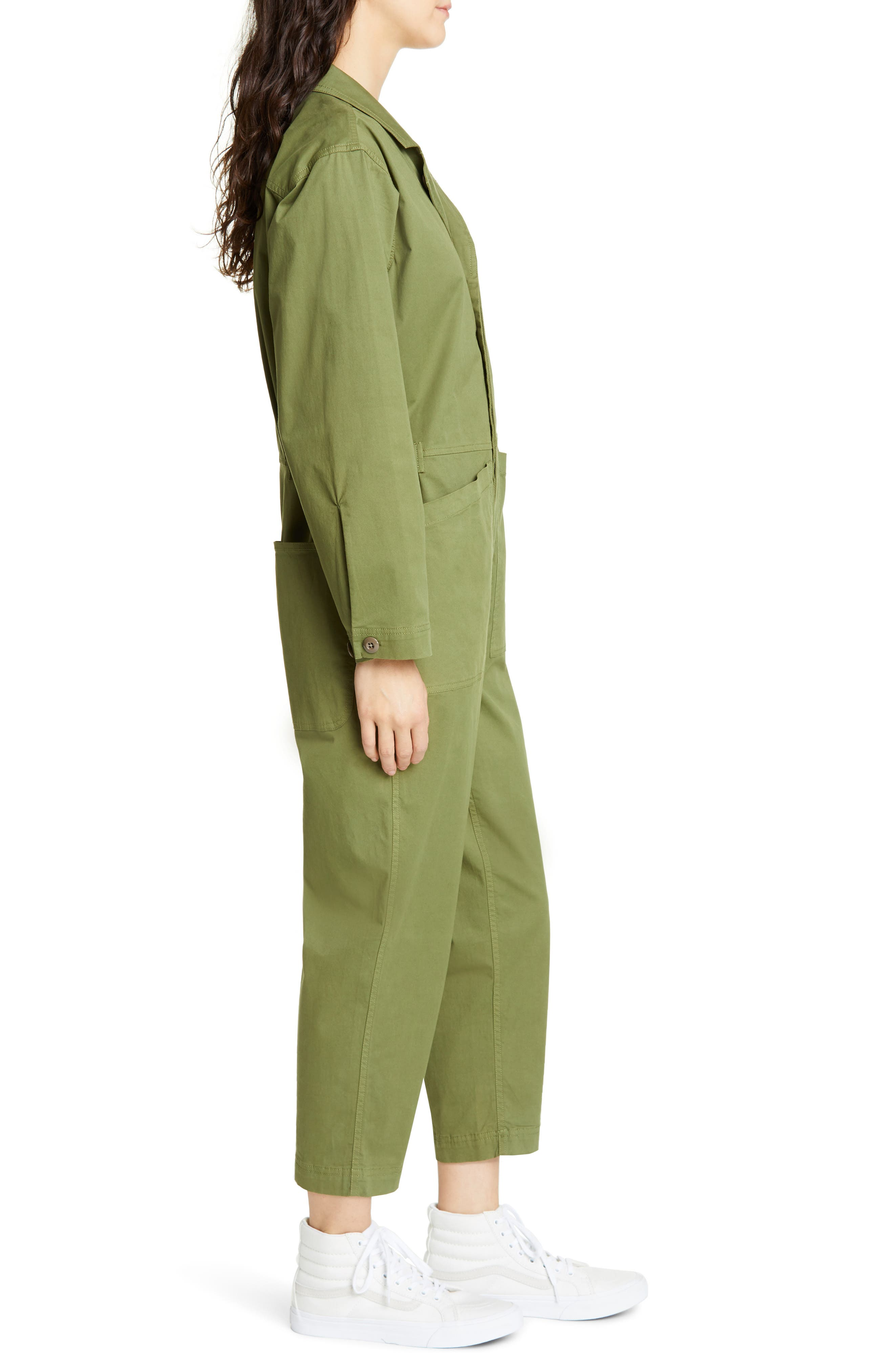 ALEX MILL, Stretch Cotton Jumpsuit, Alternate thumbnail 4, color, ARMY GREEN