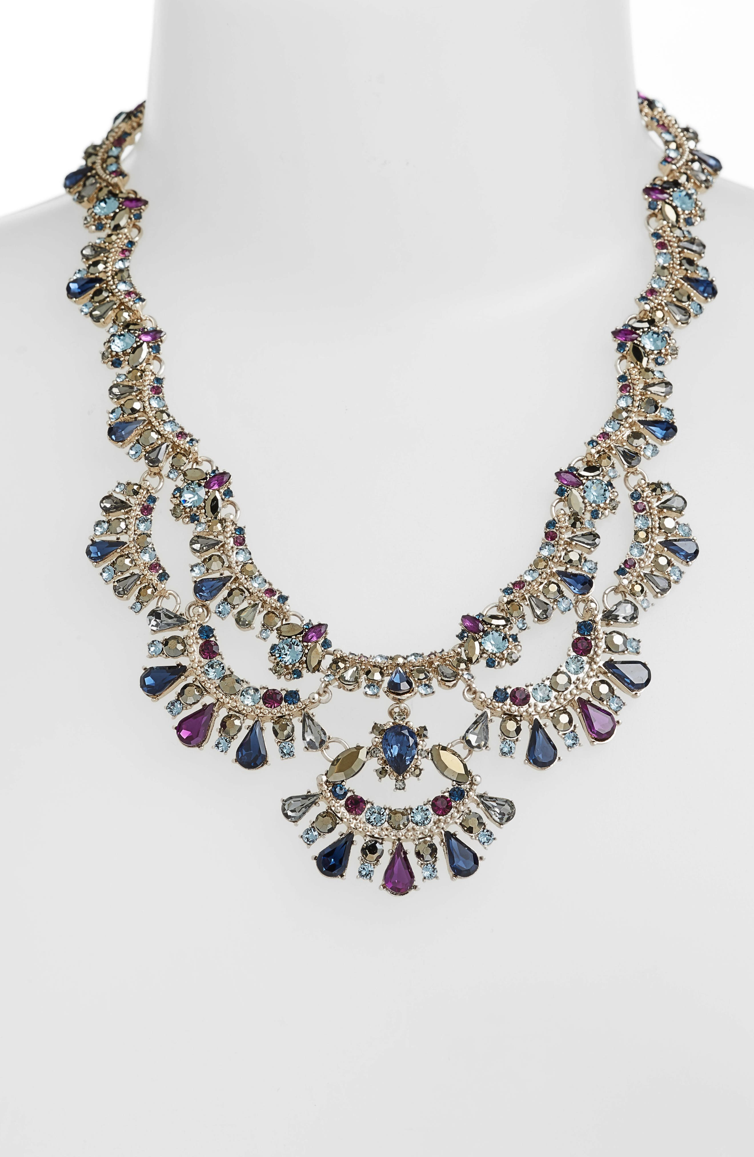 MARCHESA, Crystal Collar Necklace, Alternate thumbnail 2, color, BLUE MULTI/ GOLD