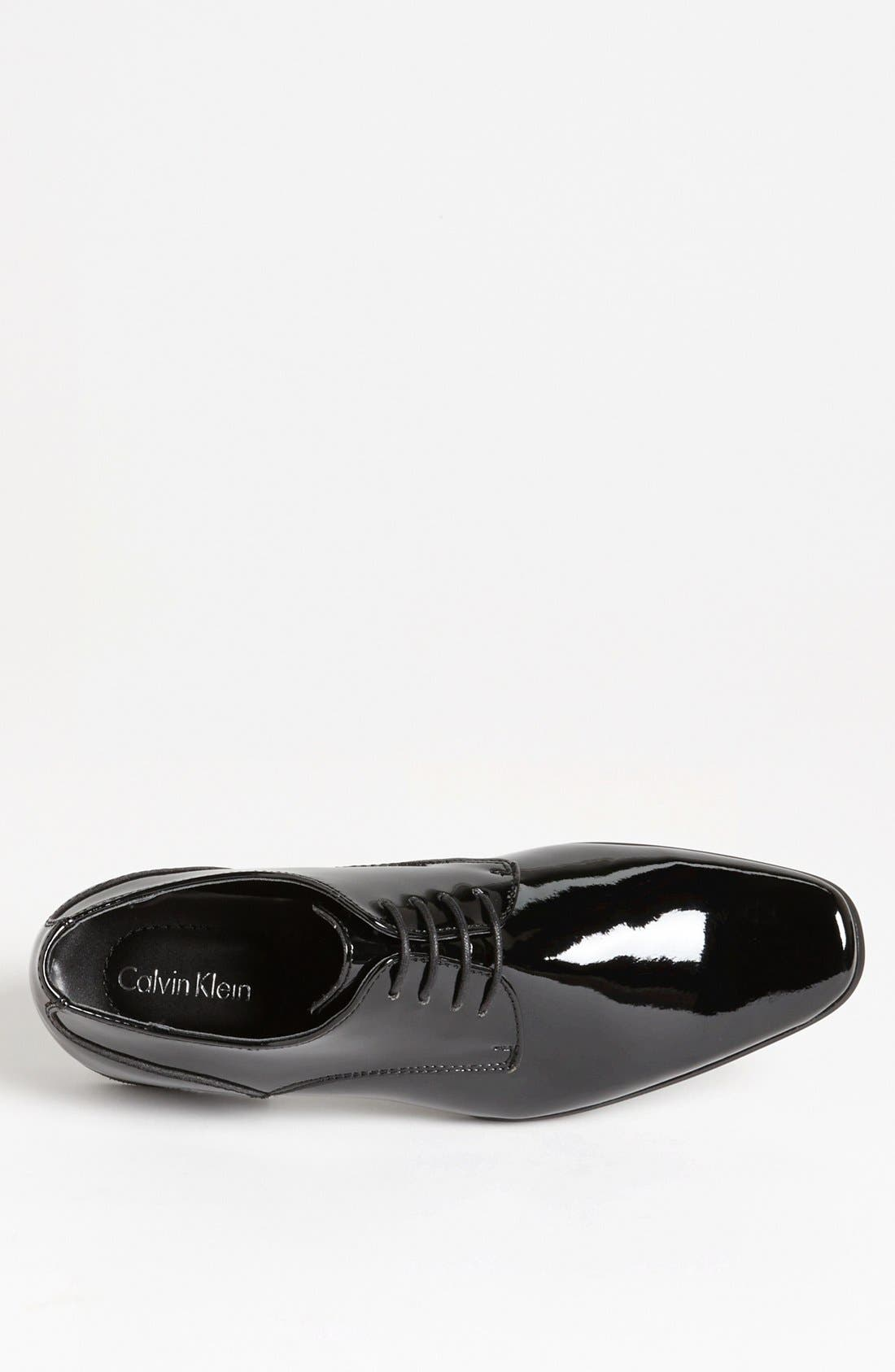 CALVIN KLEIN, 'Brodie' Plain Toe Derby, Alternate thumbnail 3, color, BLACK PATENT