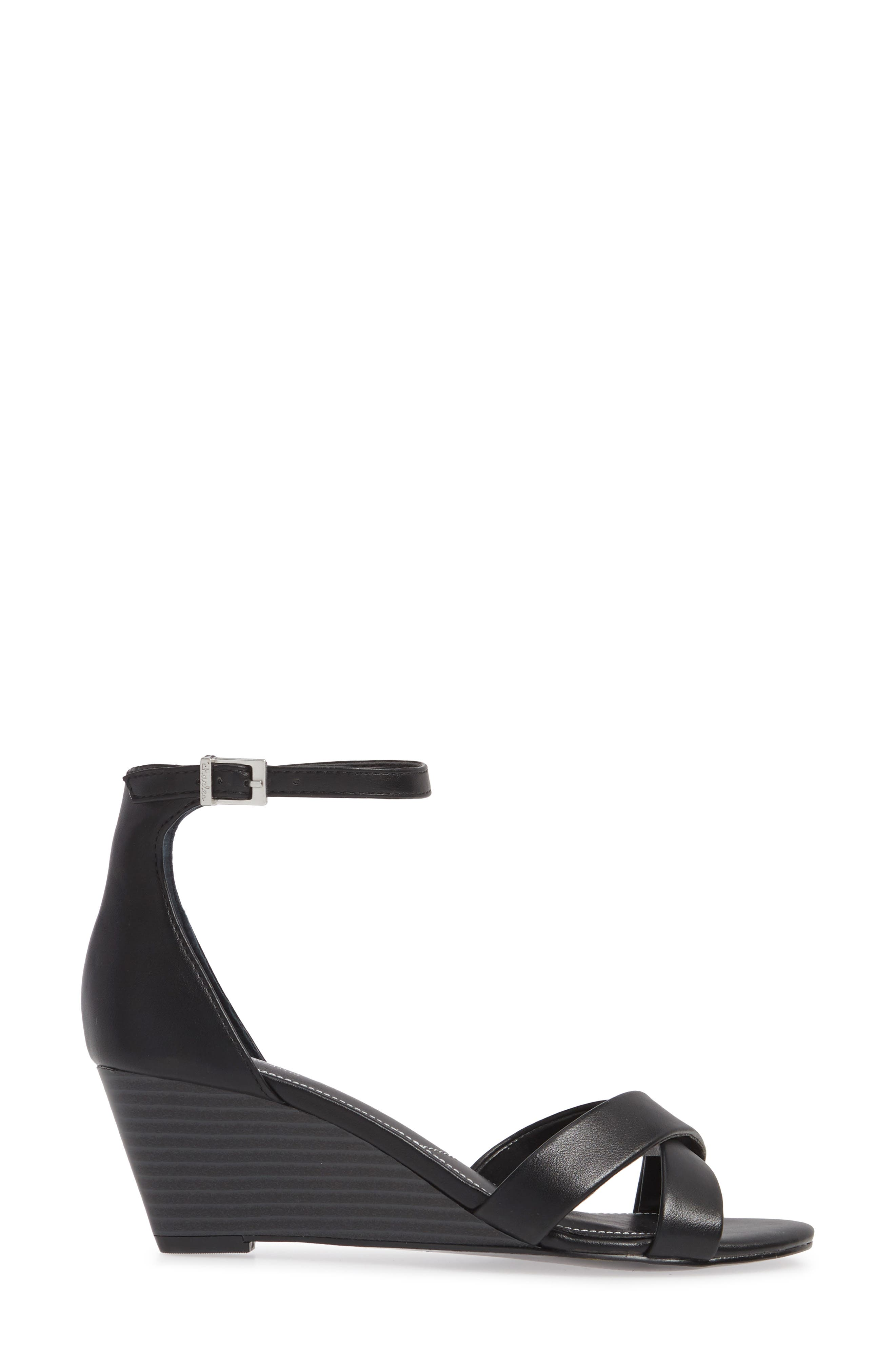 CHARLES BY CHARLES DAVID, Griffin Ankle Strap Wedge, Alternate thumbnail 3, color, BLACK FAUX LEATHER