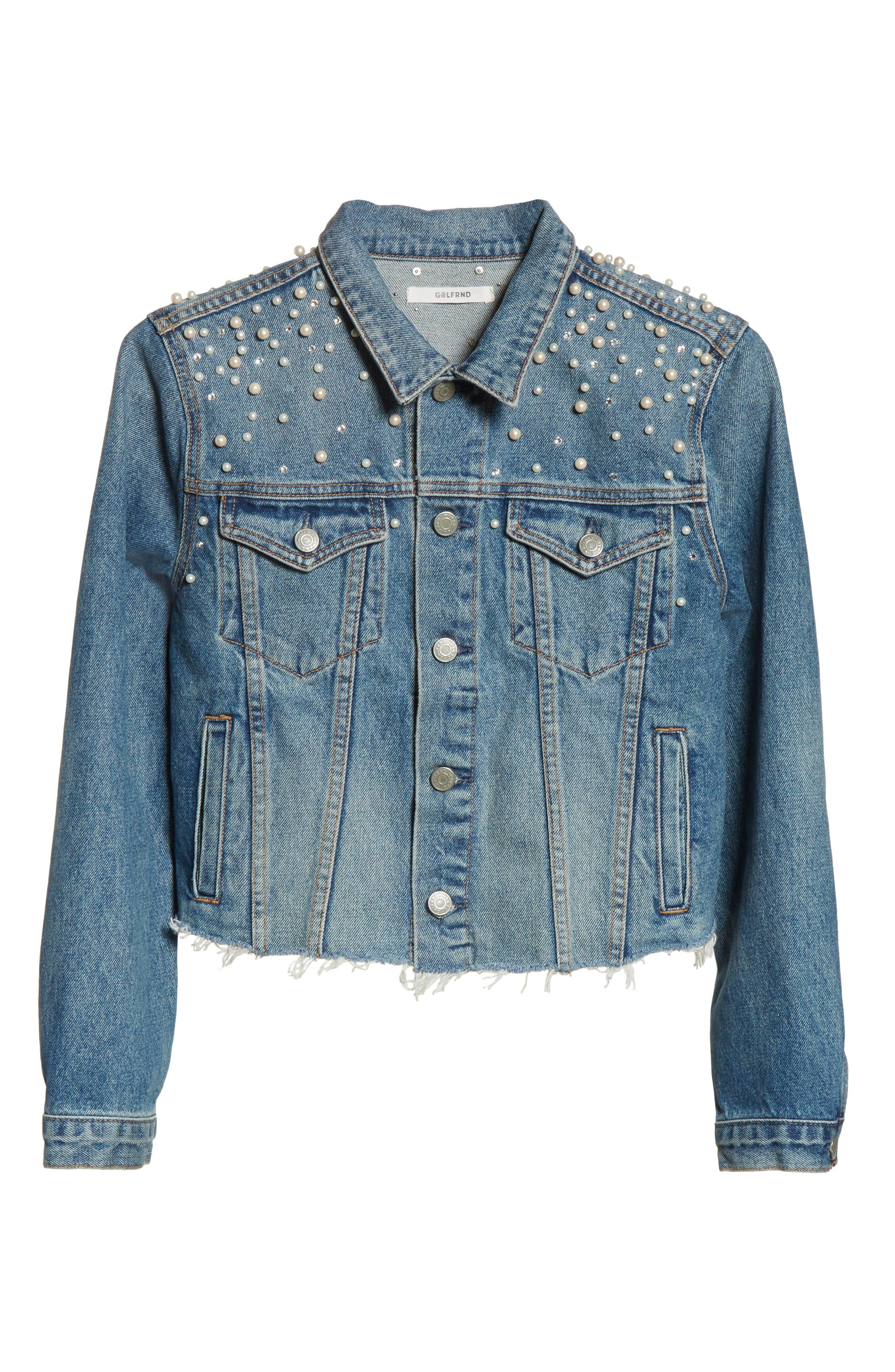 GRLFRND, Eve Faux Pearl & Crystal Embellished Crop Denim Jacket, Alternate thumbnail 5, color, 498