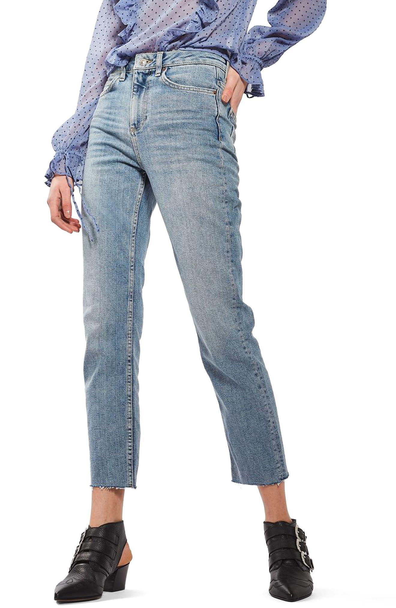 TOPSHOP Moto Raw Hem Straight Leg Jeans, Main, color, 420