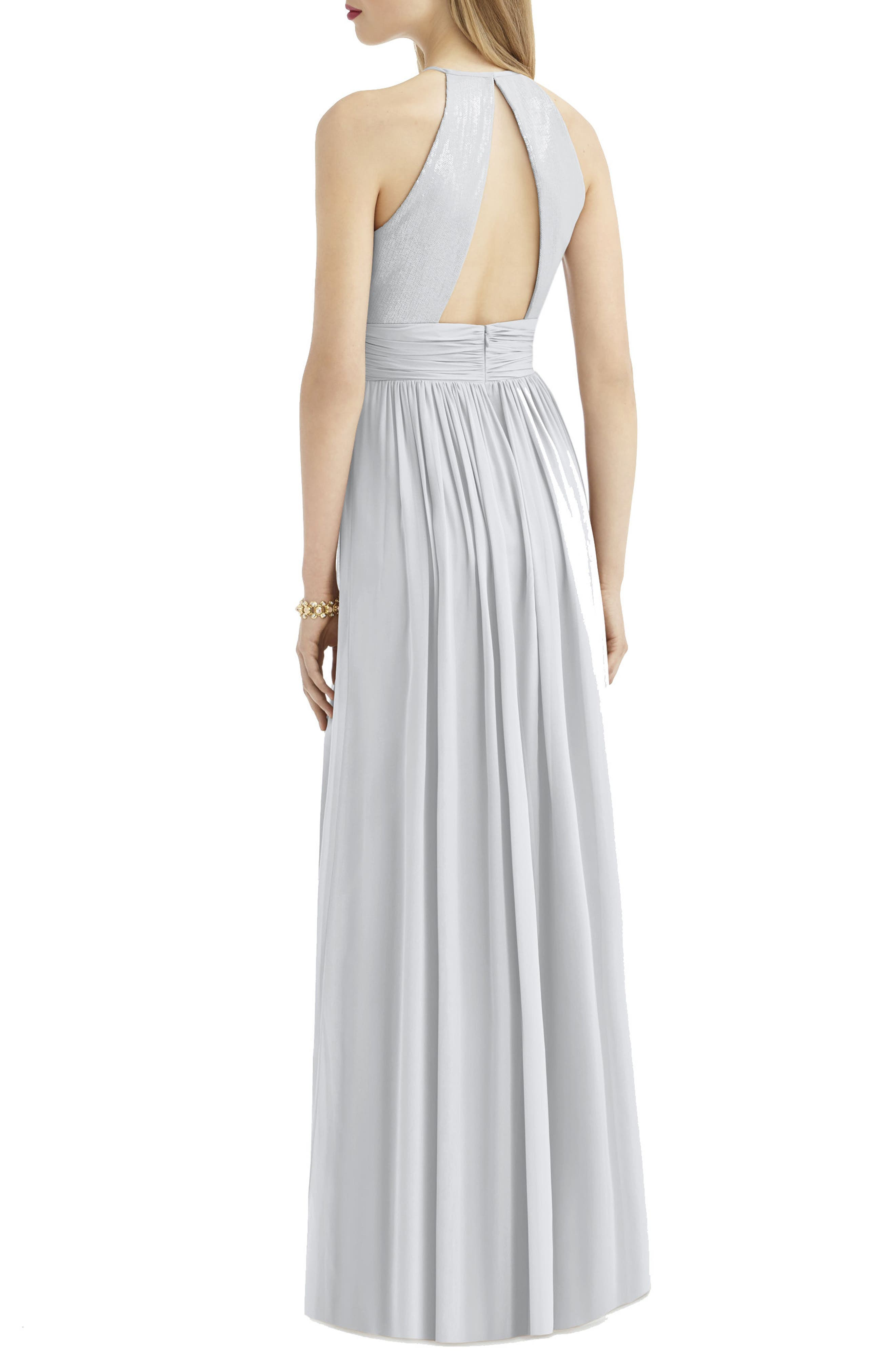 AFTER SIX, Sequin Open Back Chiffon Gown, Alternate thumbnail 2, color, FROST