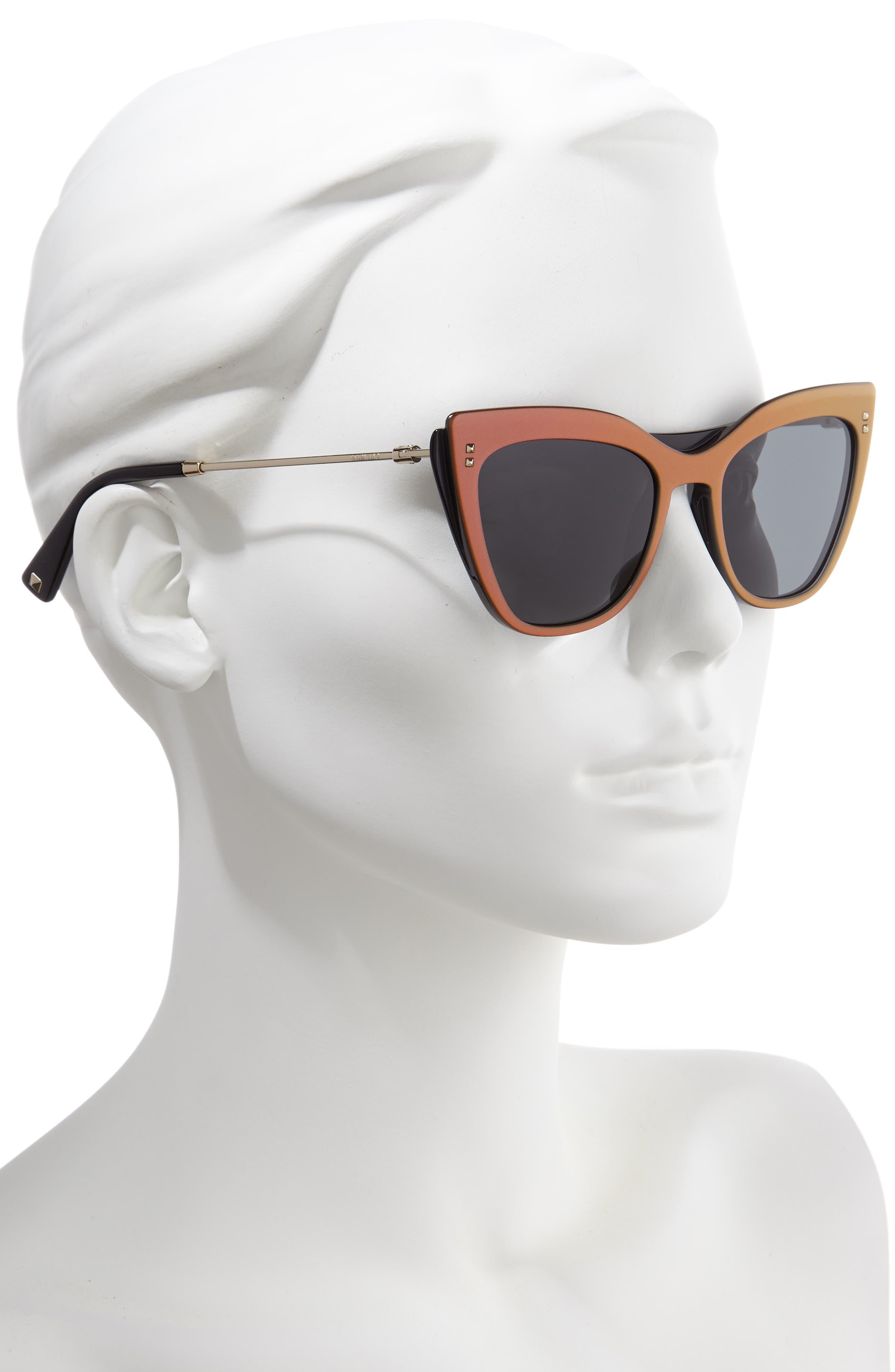 VALENTINO, 52mm Cat Eye Sunglasses, Alternate thumbnail 2, color, VIOLET/ BLACK SOLID