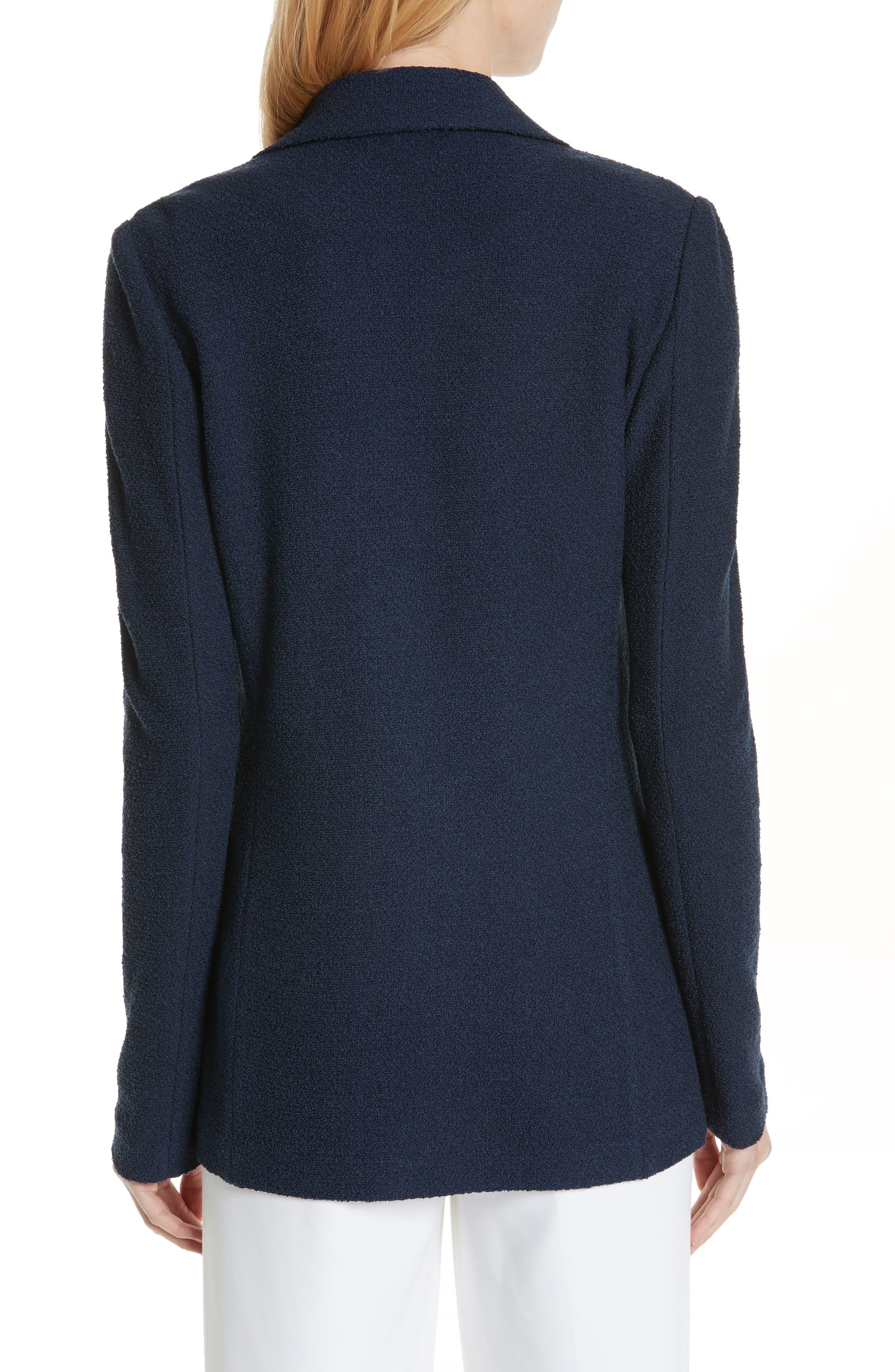 ST. JOHN COLLECTION, Ana Bouclé Knit Blazer, Alternate thumbnail 2, color, DEEP BLUE