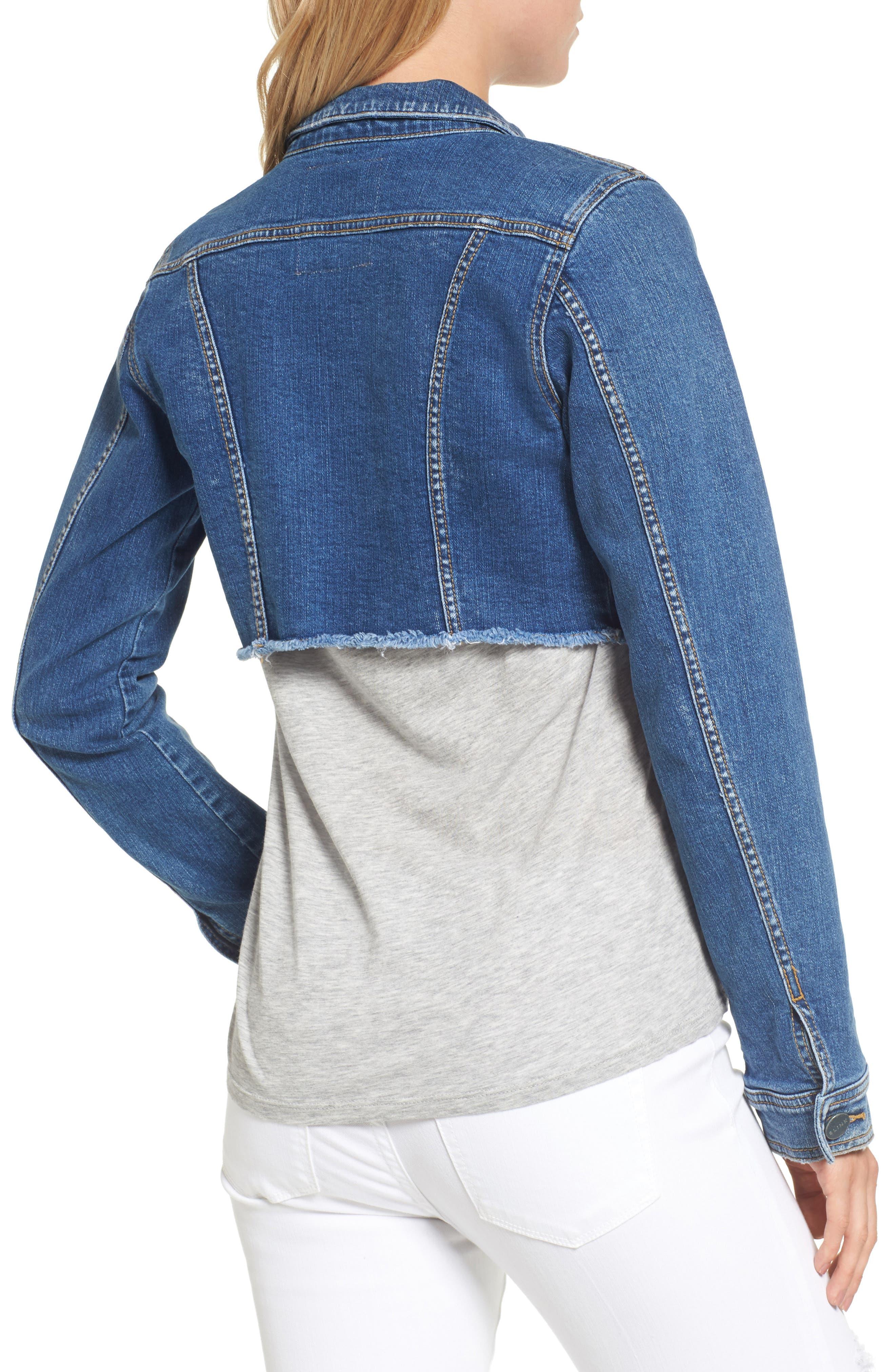 SLINK JEANS, Fray Crop Jacket, Alternate thumbnail 2, color, 495