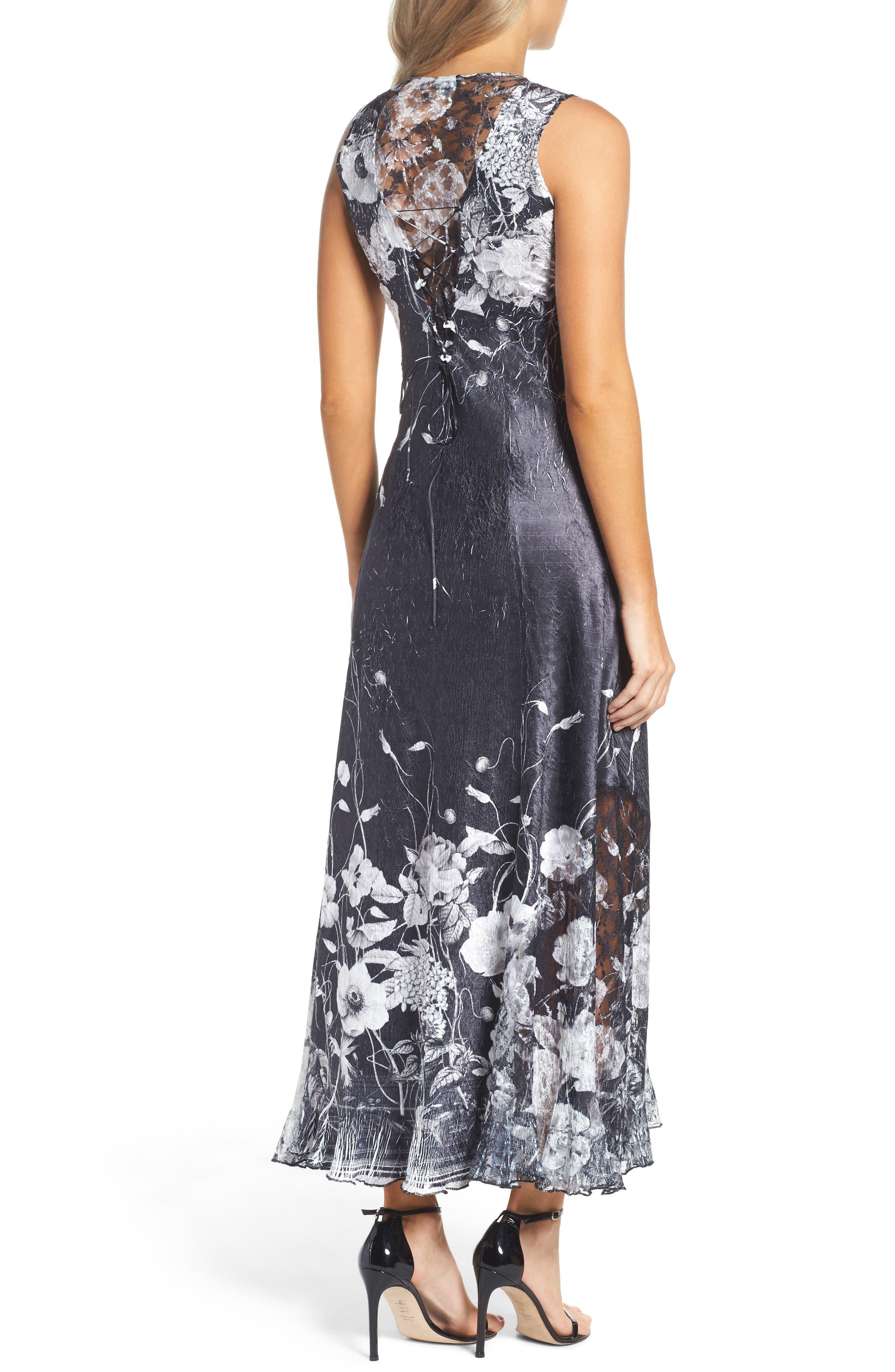 KOMAROV, Lace-Up Back Maxi Dress with Wrap, Alternate thumbnail 2, color, 001