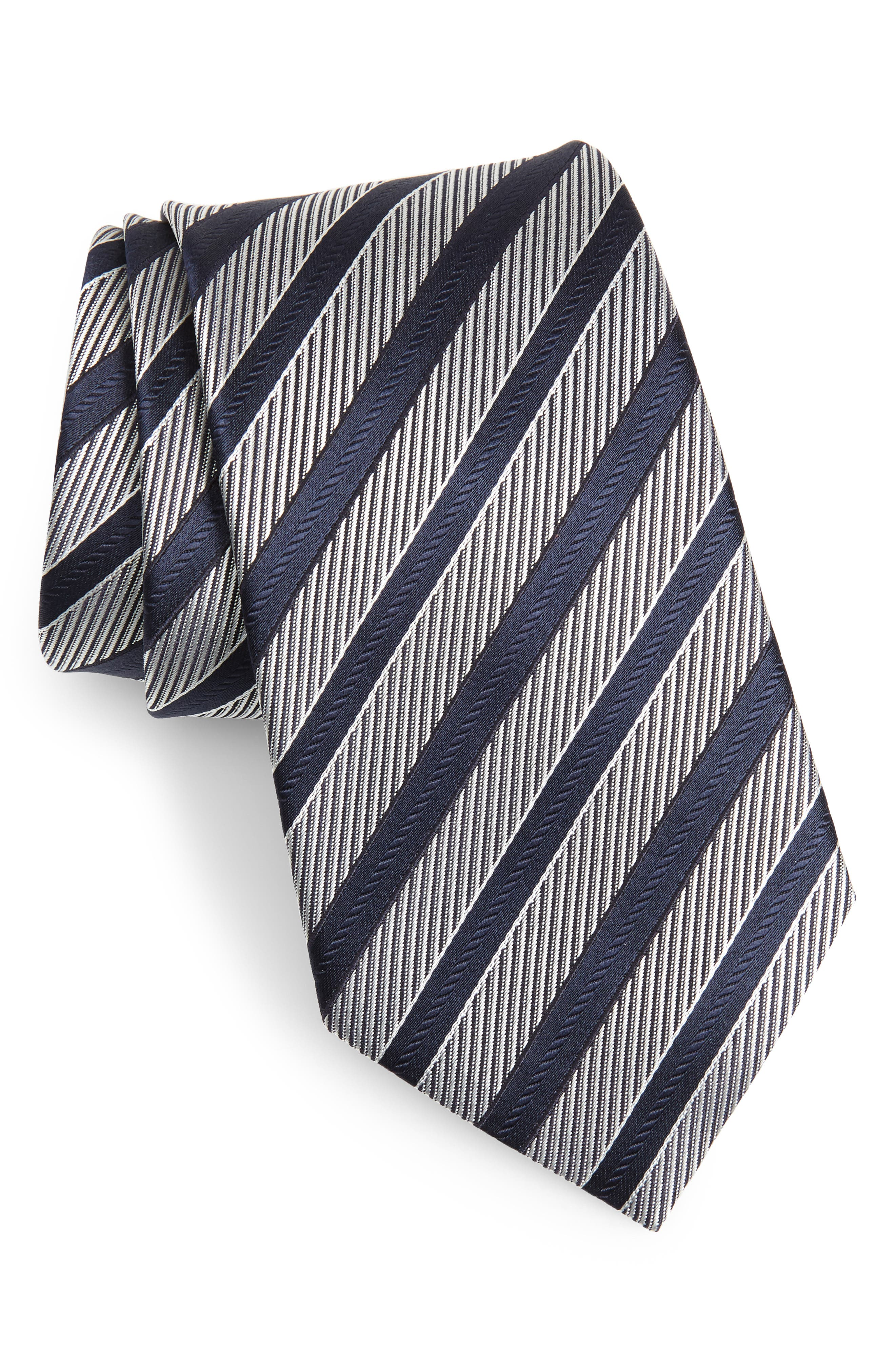 ERMENEGILDO ZEGNA, Stripe Silk Tie, Main thumbnail 1, color, NAVY/ SILVER