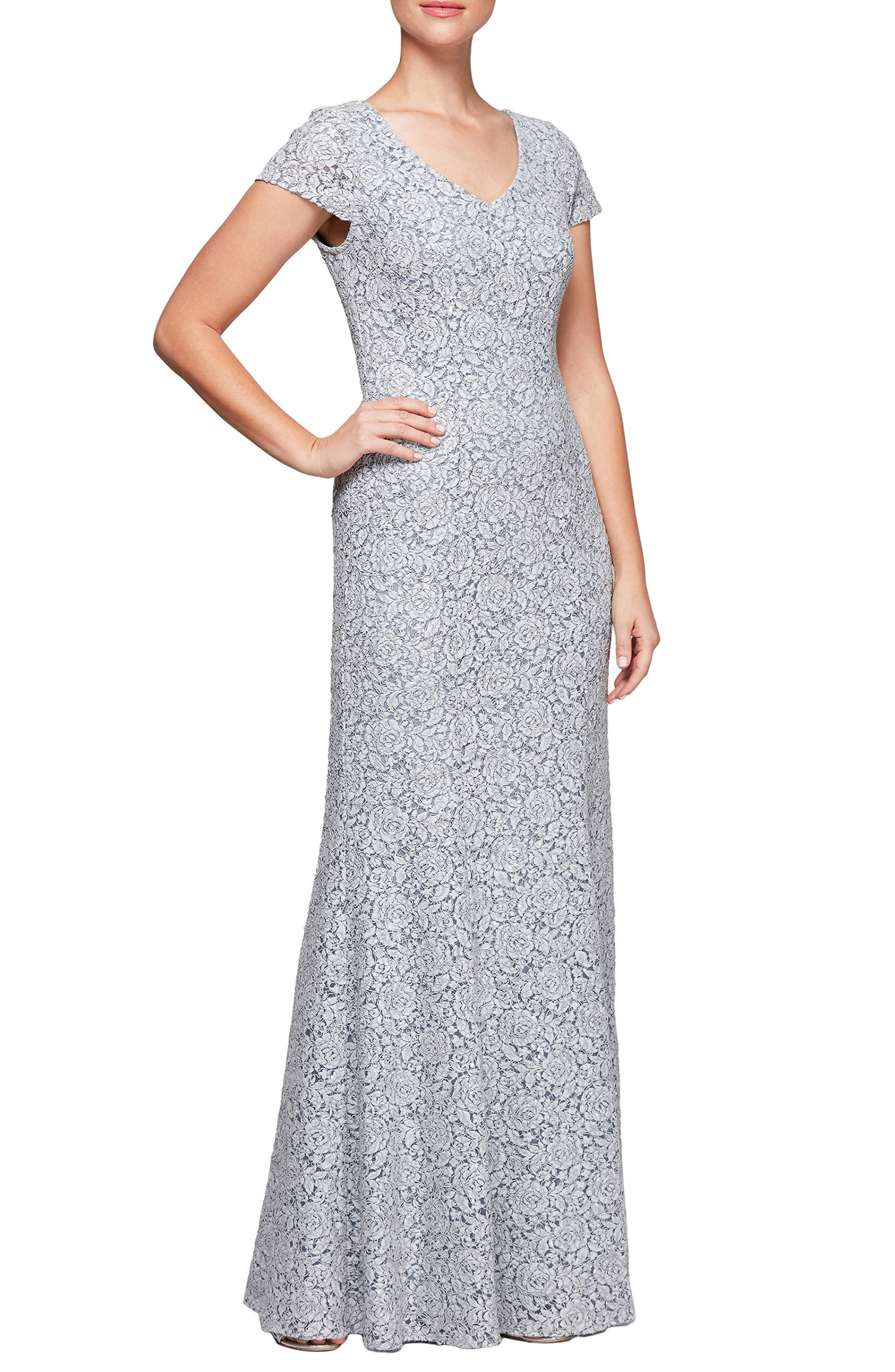 Alex Evenings Floral Corded Lace Evening Dress, 8 (similar to 1) - Blue