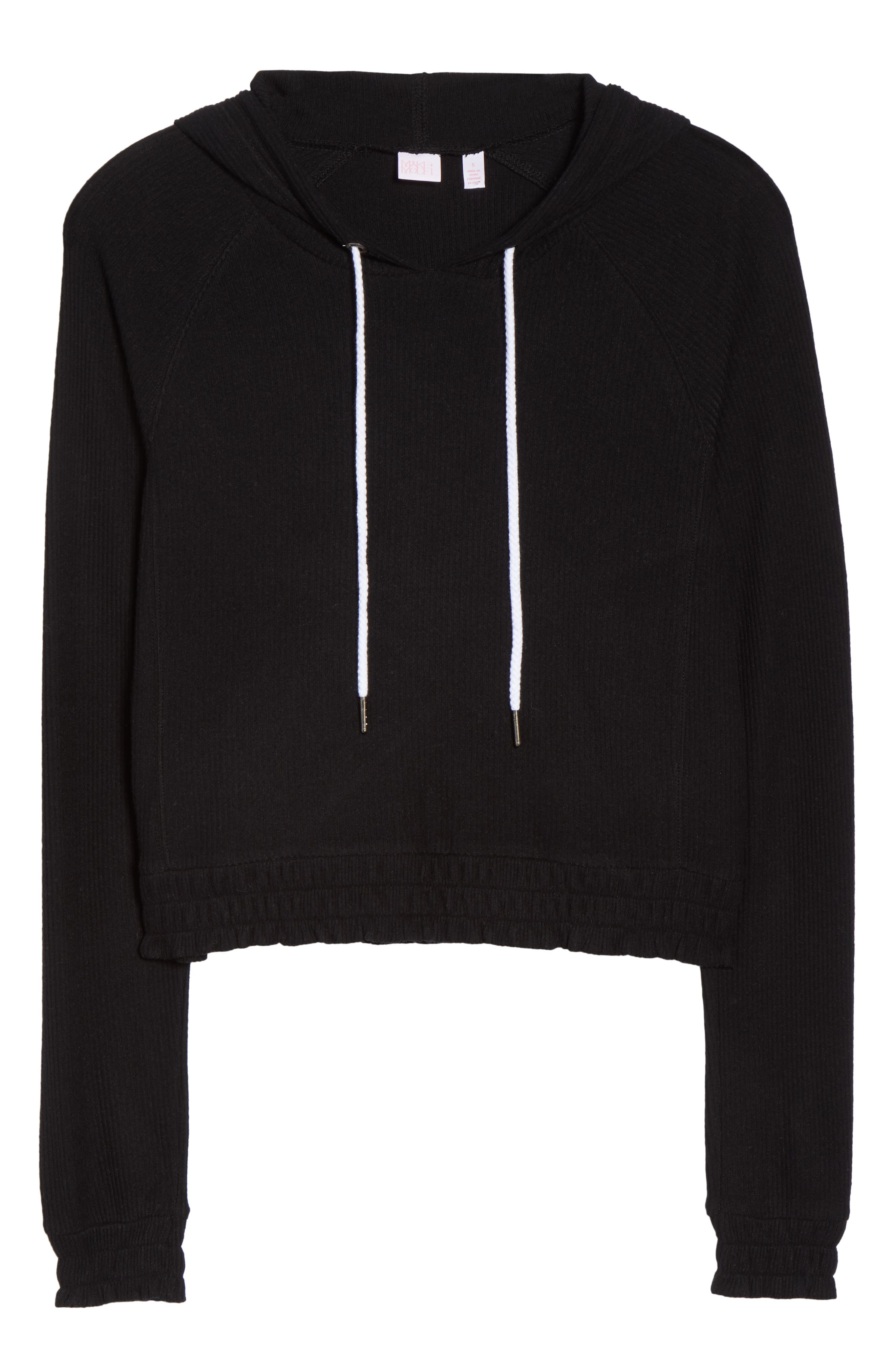 MAKE + MODEL, Cozy Up Cropped Ribbed Hoodie, Alternate thumbnail 6, color, 001