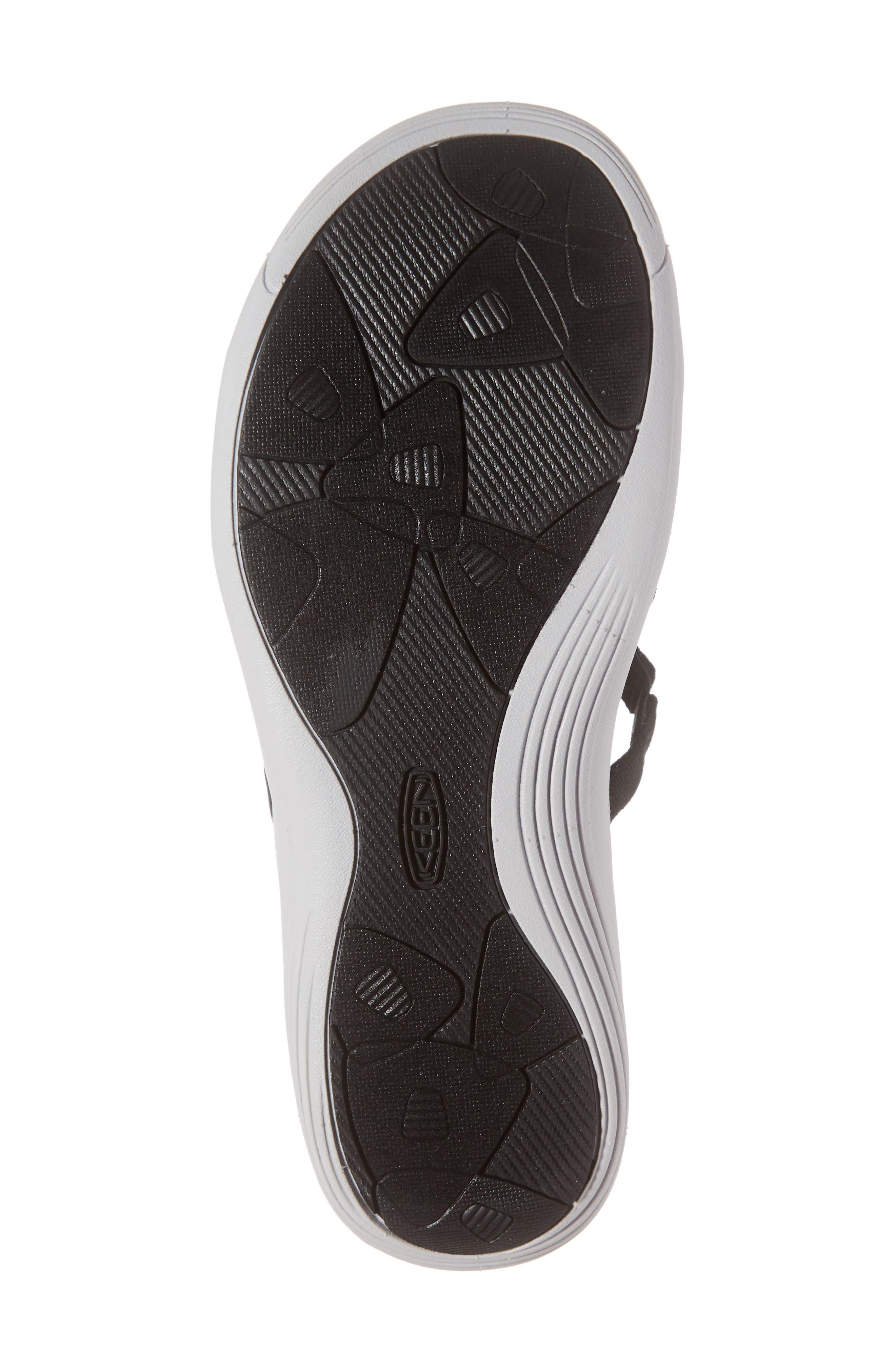 KEEN, Damaya Slide Sandal, Alternate thumbnail 6, color, BLACK/ VAPOR BLUE FABRIC