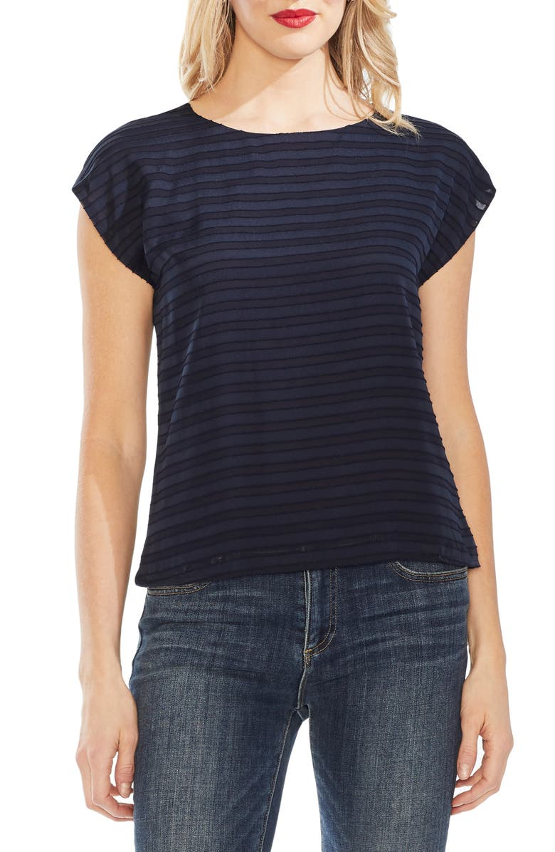 Vince Camuto Tops SHEER STRIPE FRONT TOP