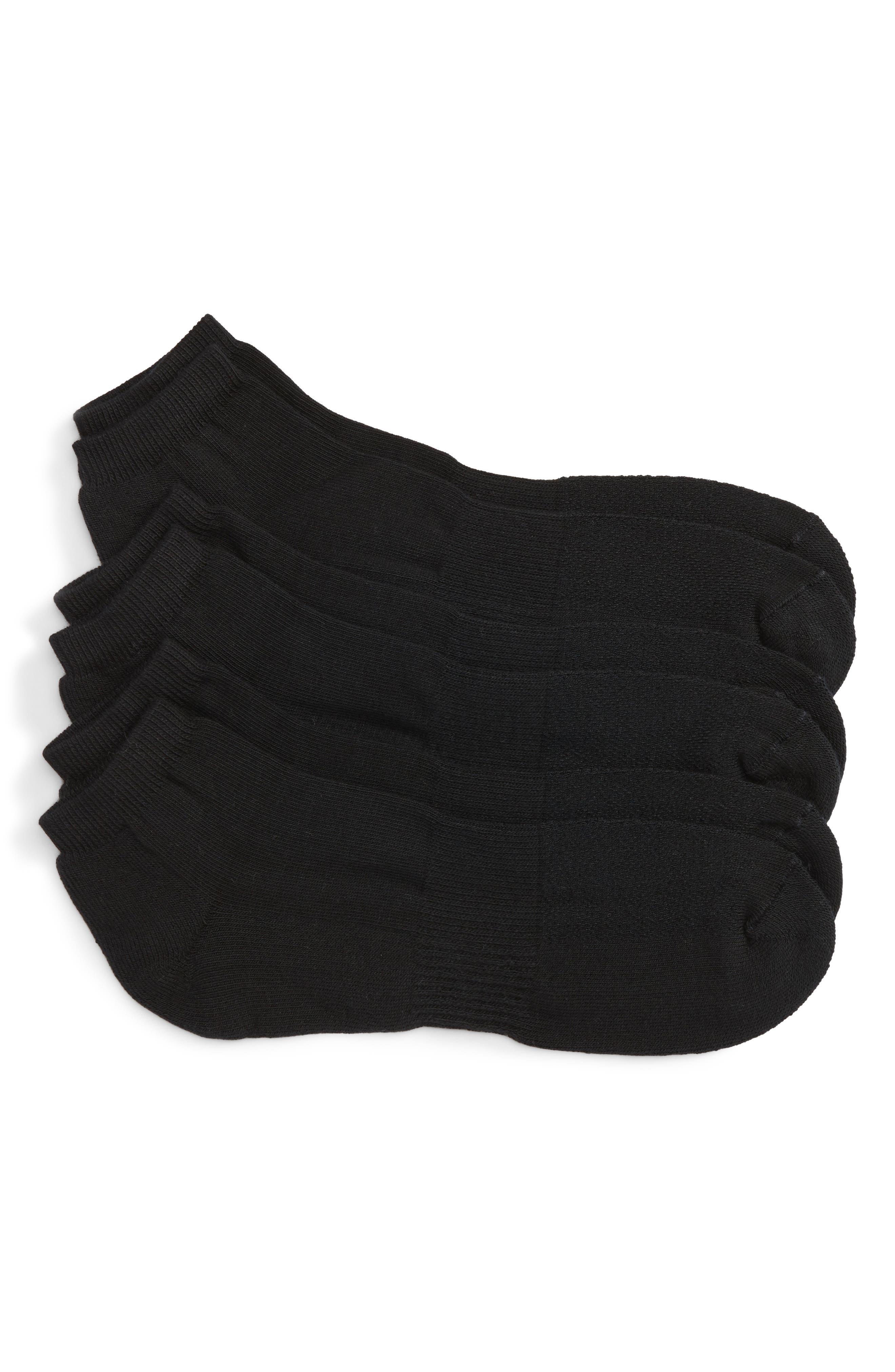 NORDSTROM MEN'S SHOP, 3-Pack No-Show Athletic Socks, Main thumbnail 1, color, BLACK