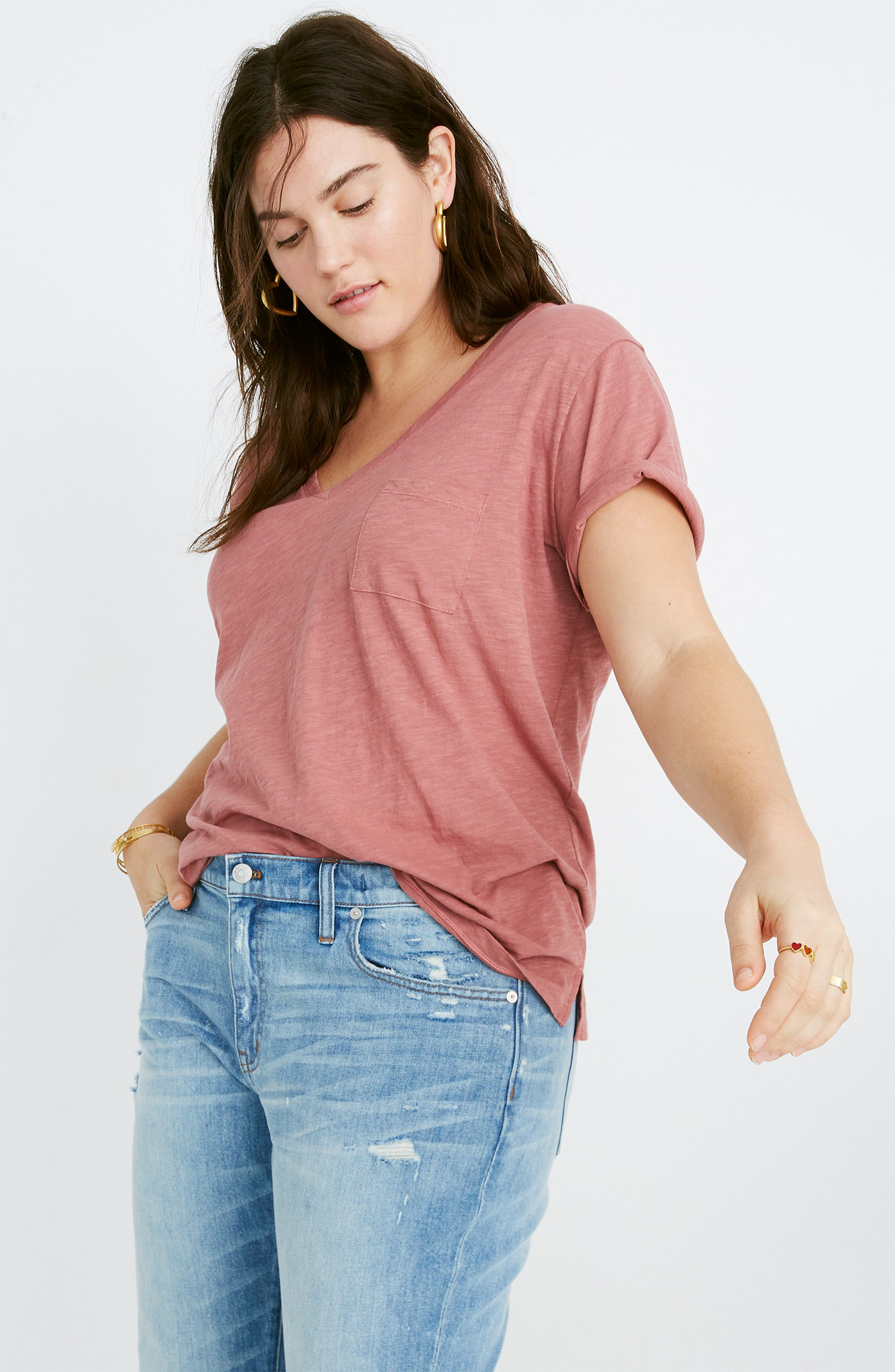 MADEWELL, Whisper Cotton V-Neck Pocket Tee, Alternate thumbnail 8, color, AUTUMN BERRY