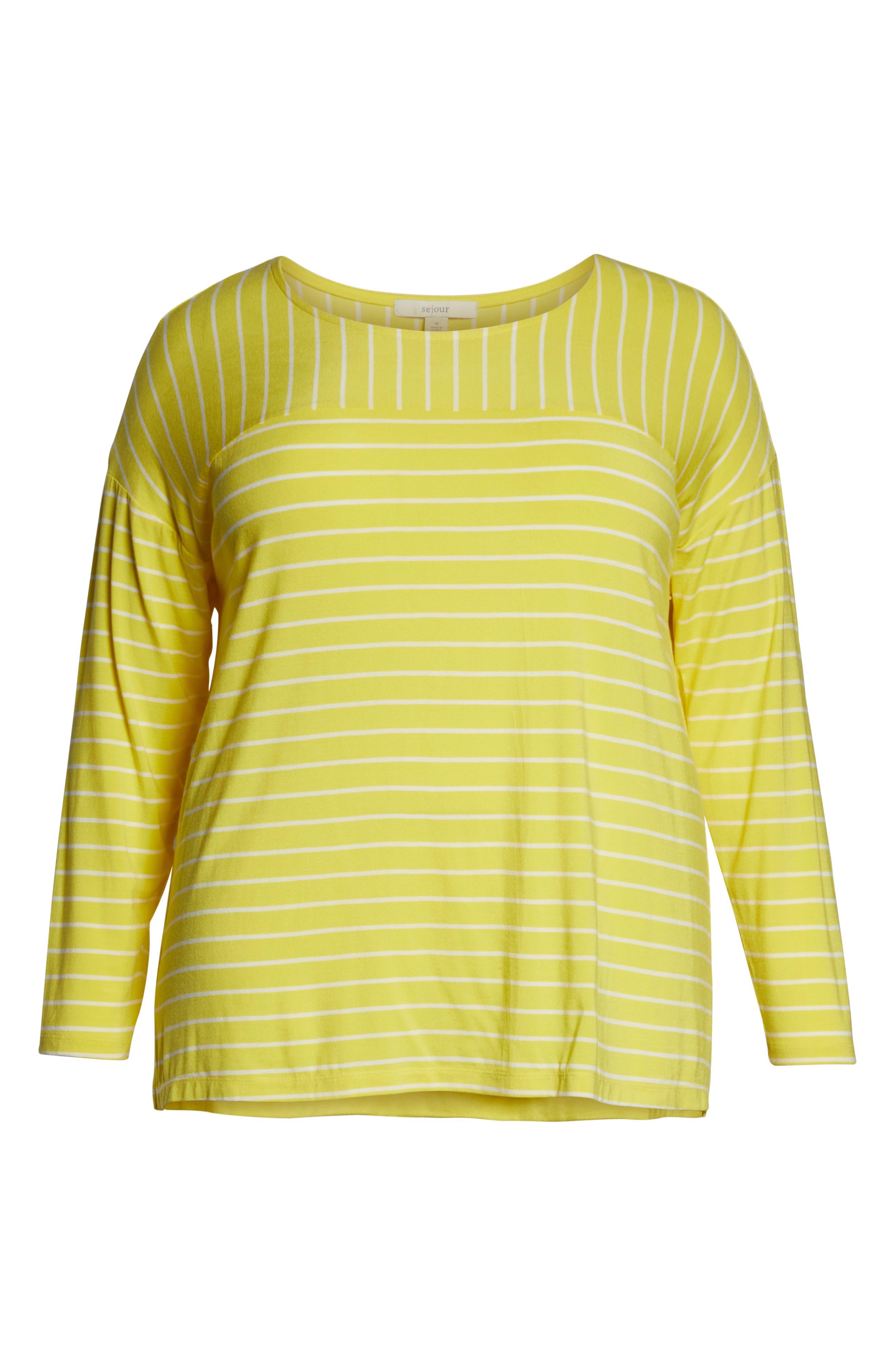 SEJOUR, Stripe Long Sleeve Tee, Alternate thumbnail 6, color, YELLOW ANYA STRIPE