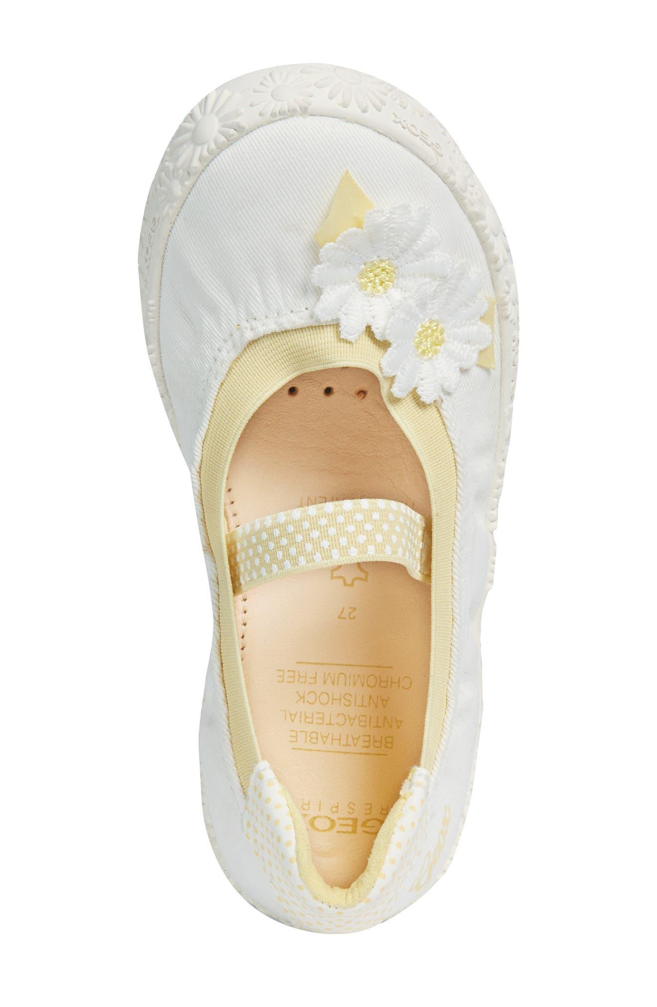 GEOX, Kilwi Daisy Mary Jane Sneaker, Alternate thumbnail 5, color, WHITE