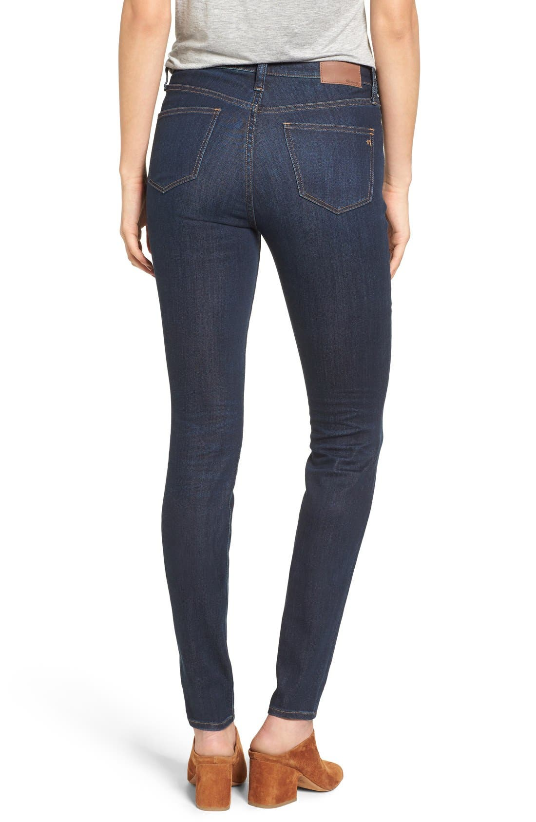 MADEWELL, 9-Inch High Rise Skinny Jeans, Alternate thumbnail 13, color, LARKSPUR