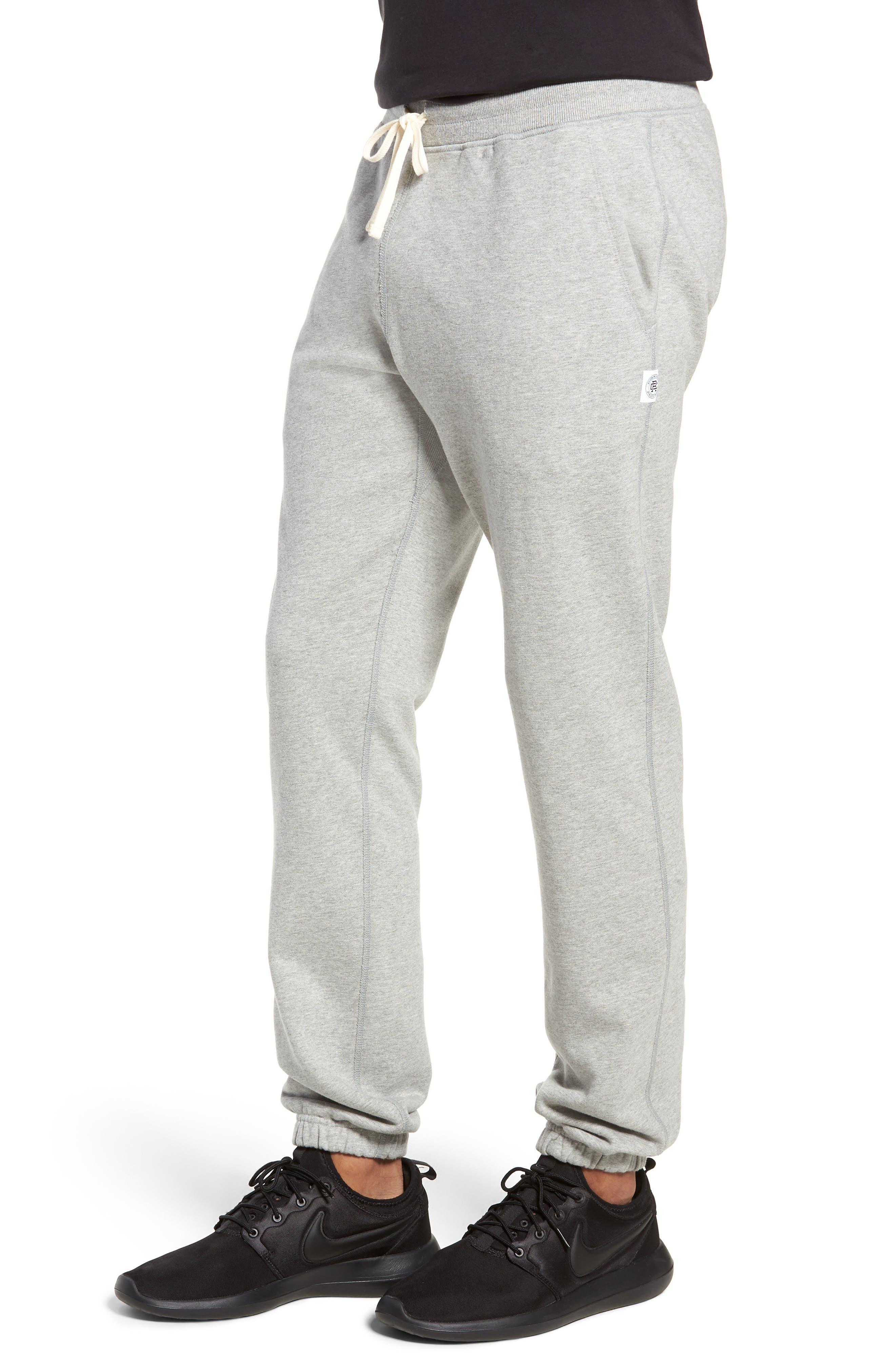 REIGNING CHAMP, Cotton Jogger Pants, Alternate thumbnail 4, color, HEATHER GREY