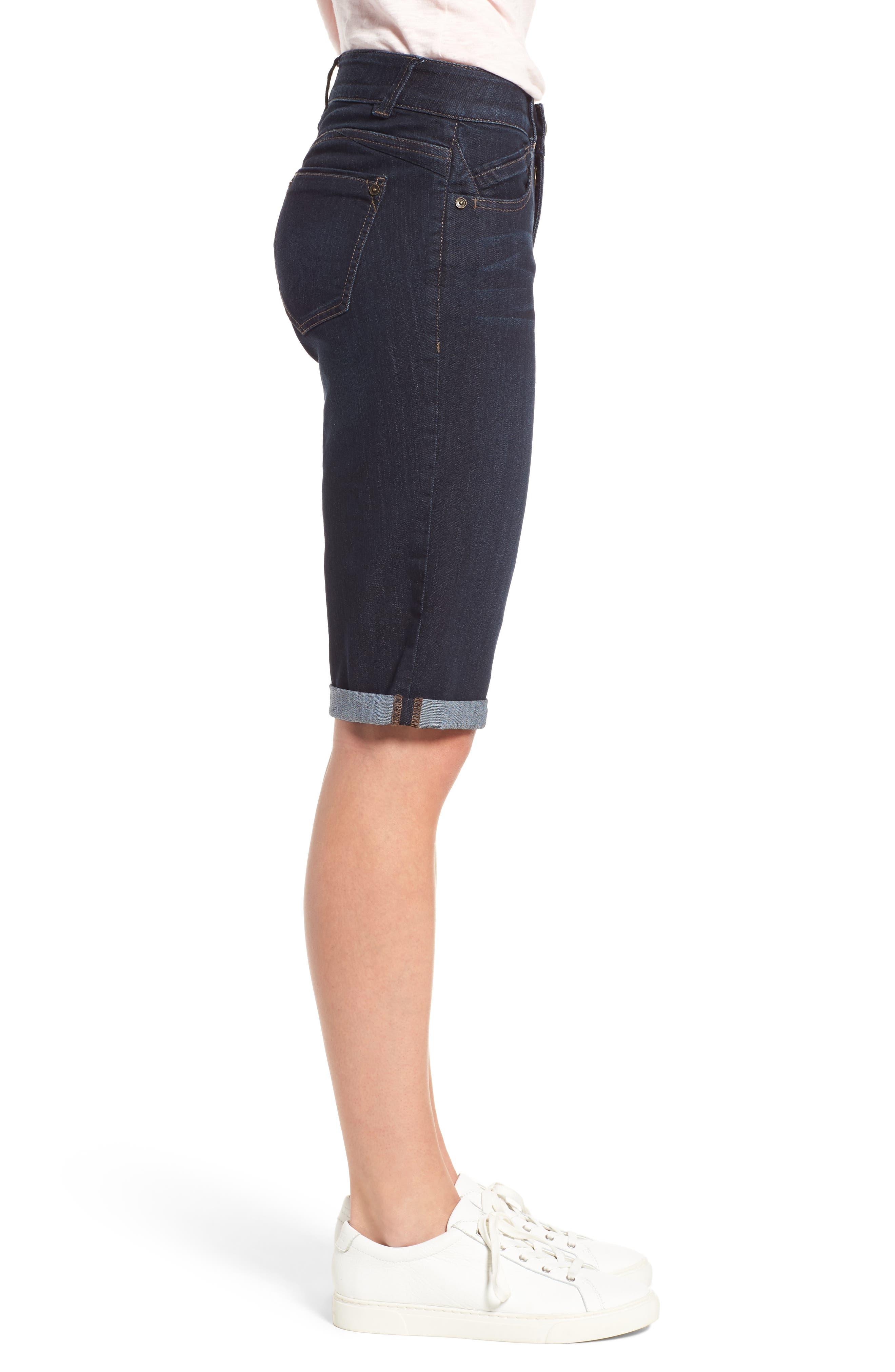 WIT & WISDOM, Ab-solution Denim Bermuda Shorts, Alternate thumbnail 4, color, INDIGO