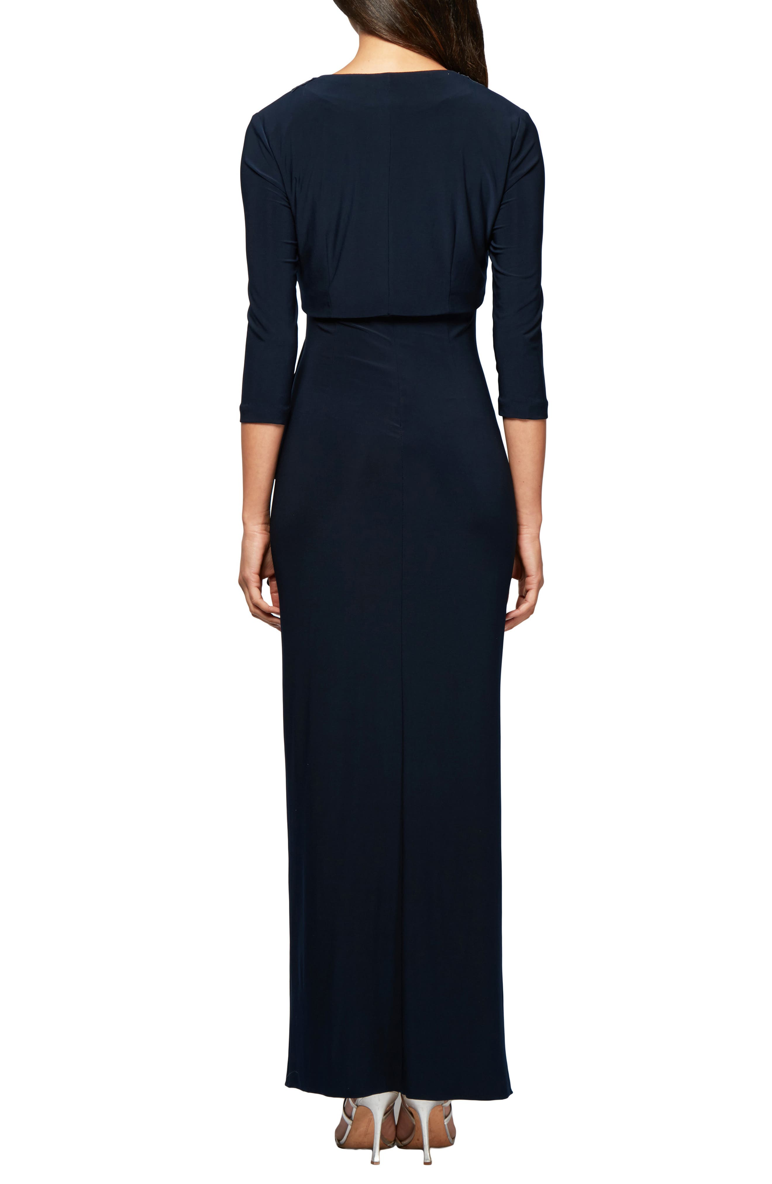 ALEX EVENINGS, Side Ruched Evening Dress with Bolero, Alternate thumbnail 2, color, 410