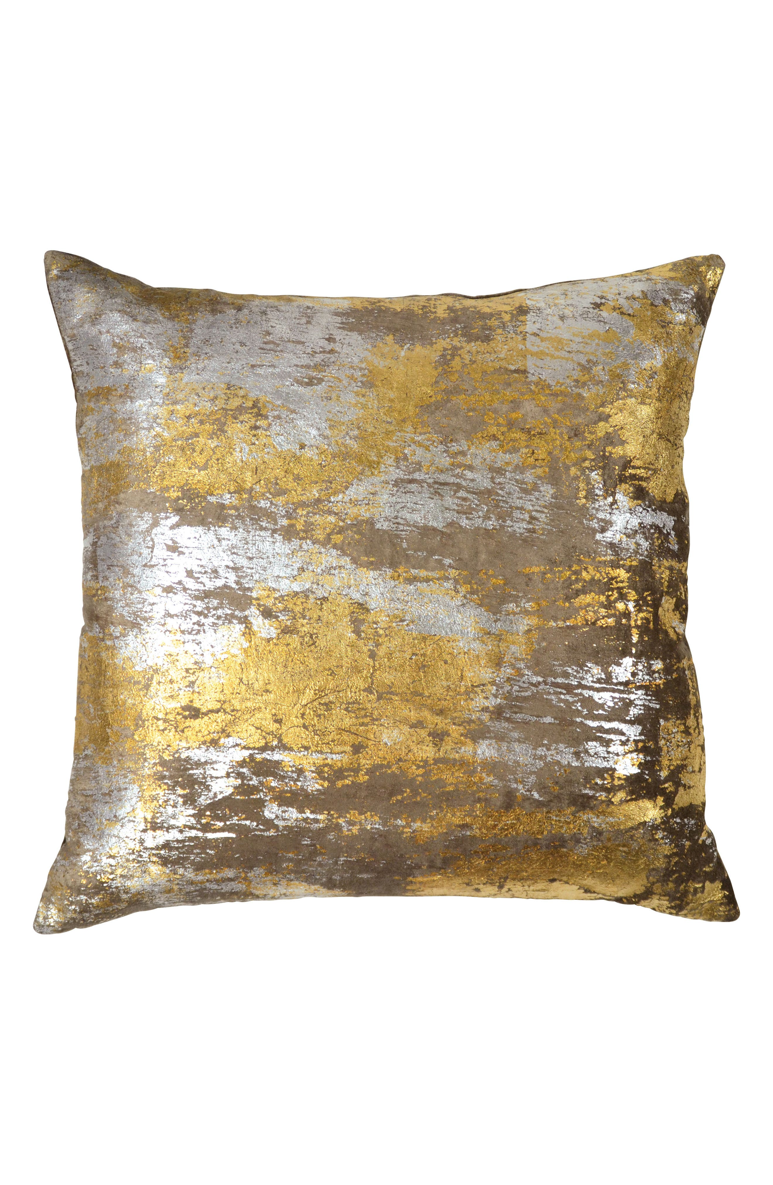 MICHAEL ARAM, Distressed Metallic Accent Pillow, Main thumbnail 1, color, SILVER