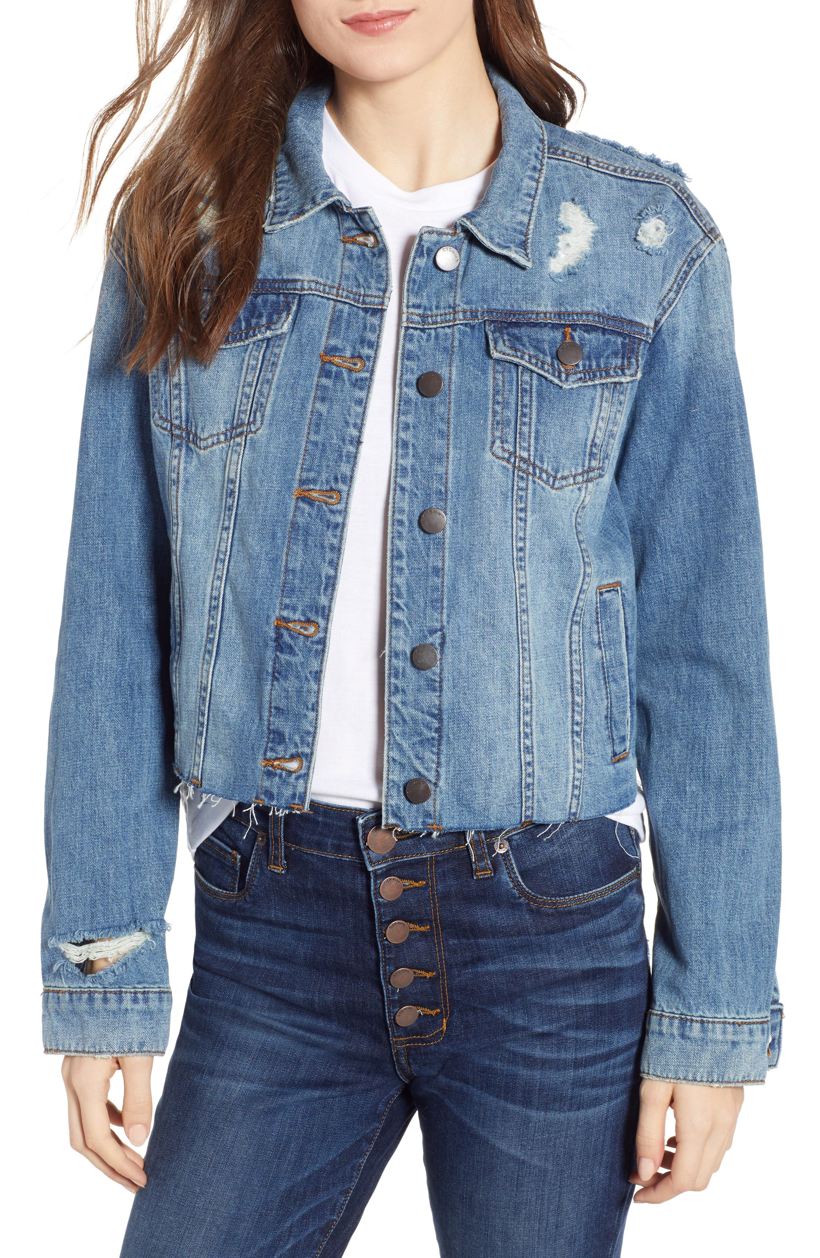 STS BLUE, Boyfriend Crop Denim Jacket, Main thumbnail 1, color, 400